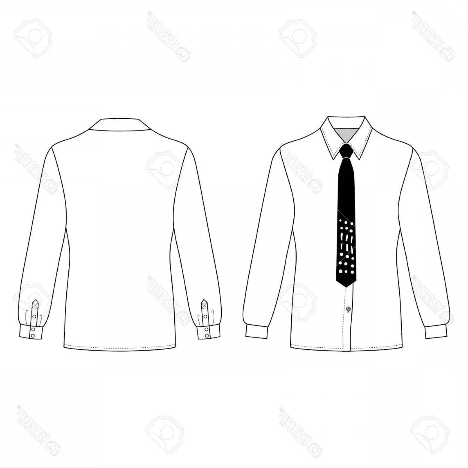 Sweatshirt Vector Template: Photostock Vector Long Sleeve Man S Shirt Tie Outlined Template Front Back View Vector Illustration Isolated On White