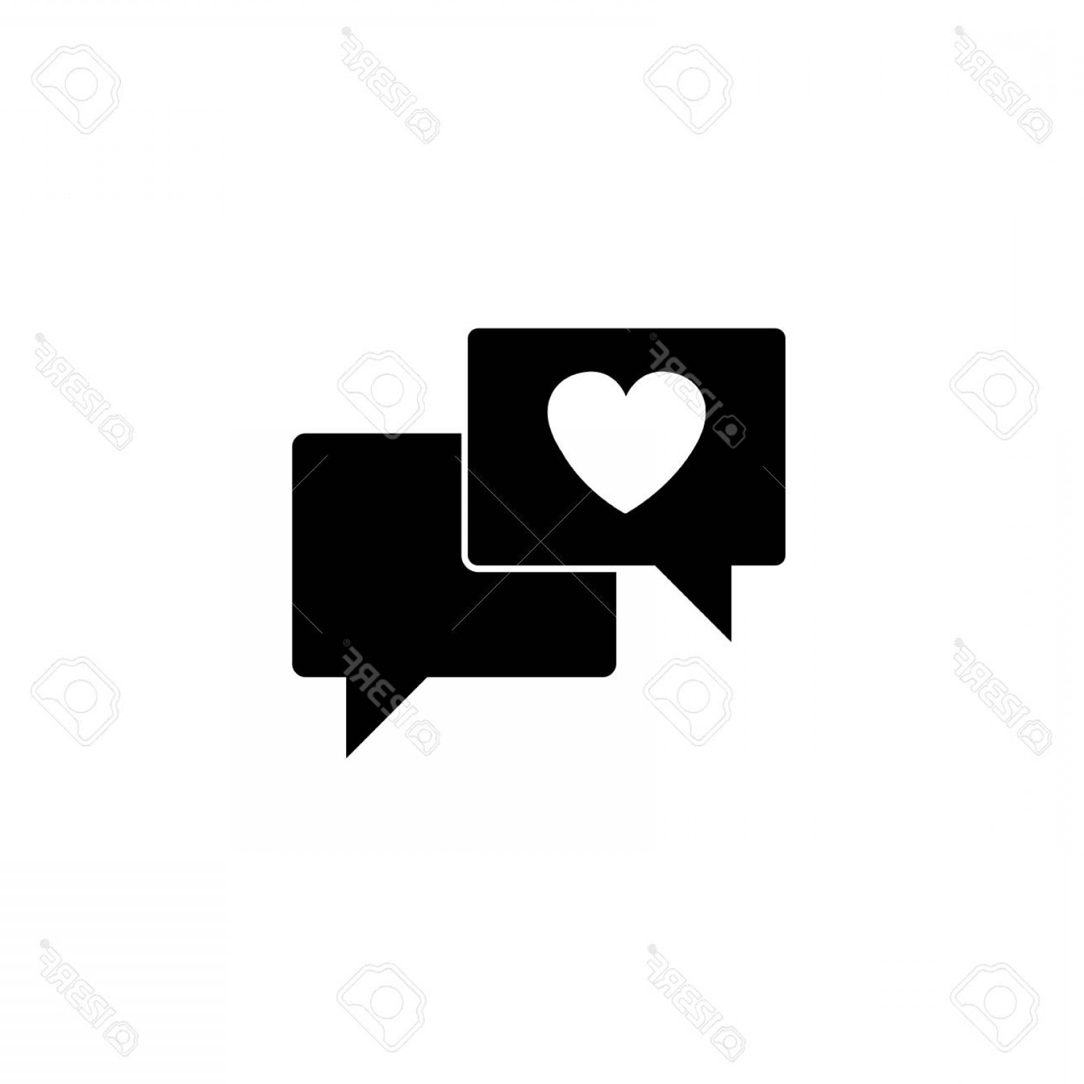 Solid Heart Vector Drawing: Photostock Vector Love Chat Solid Icon Heart In Speech Bubble Vector Graphics A Filled Pattern On A White Background E