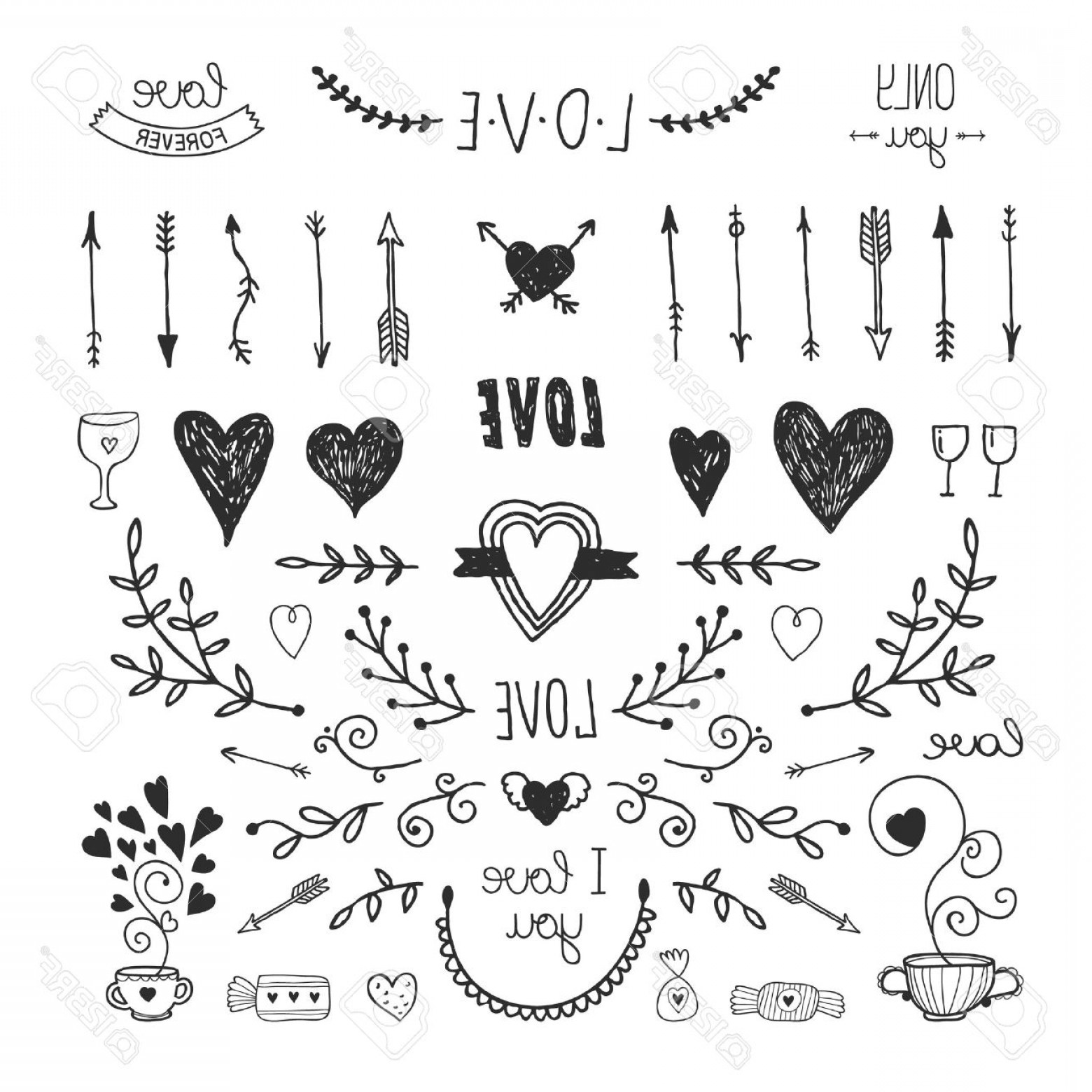 Love With Arrows Vector: Photostock Vector Love Decorative Vintage Elements Hand Drawn Collection With Arrow Heart Tatoo Flower Tea And Letteri