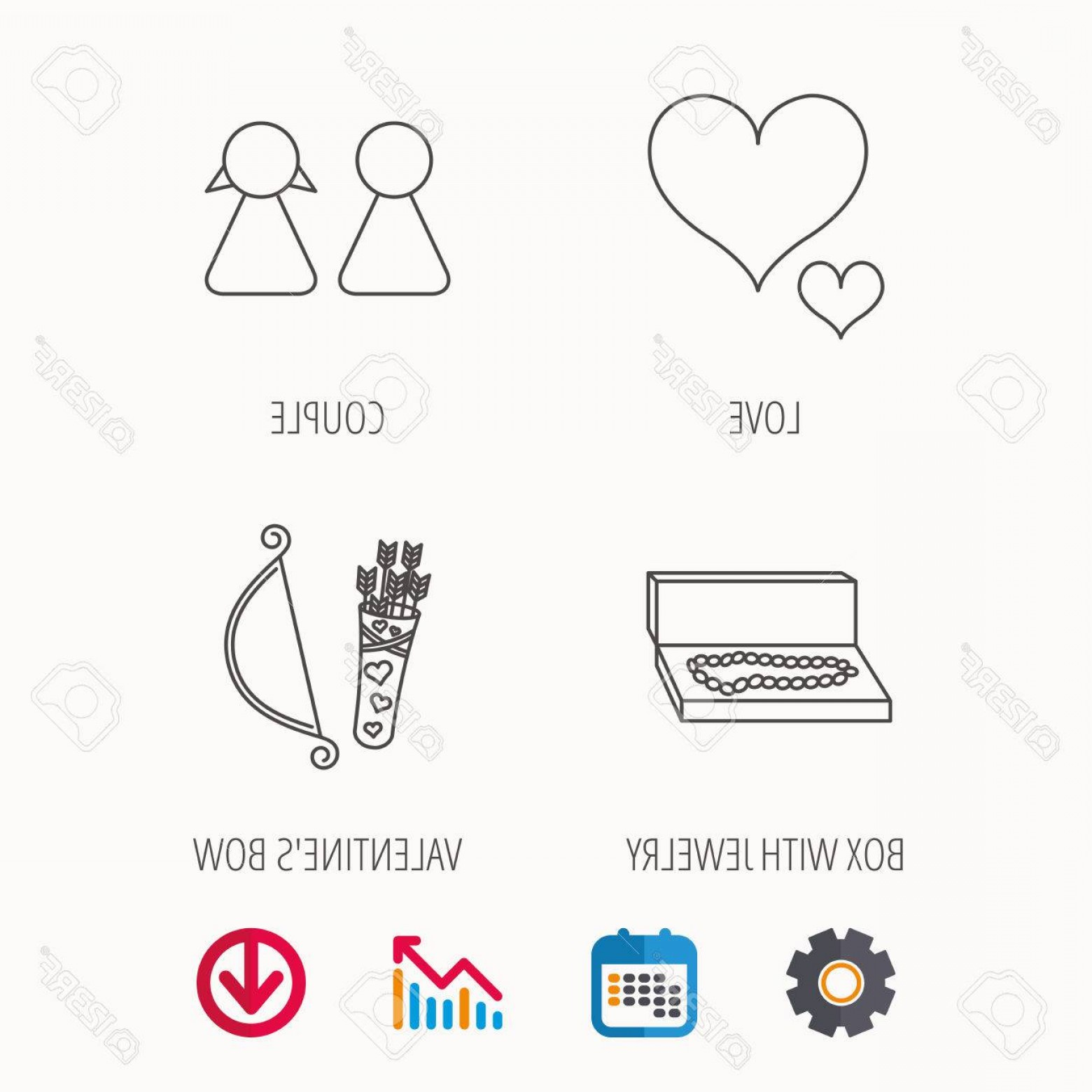Love With Arrows Vector: Photostock Vector Love Heart Jewelry And Couple Icons Valentine Amour Arrows Linear Signs Calendar Graph Chart And Cog