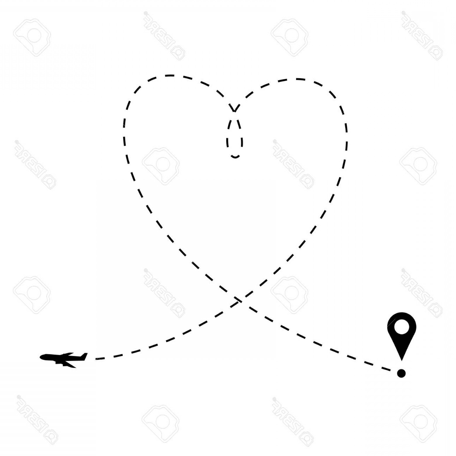 Black Heart And Plane Vector: Photostock Vector Love Is In The Air Concept Plane And Heart Shaped Path