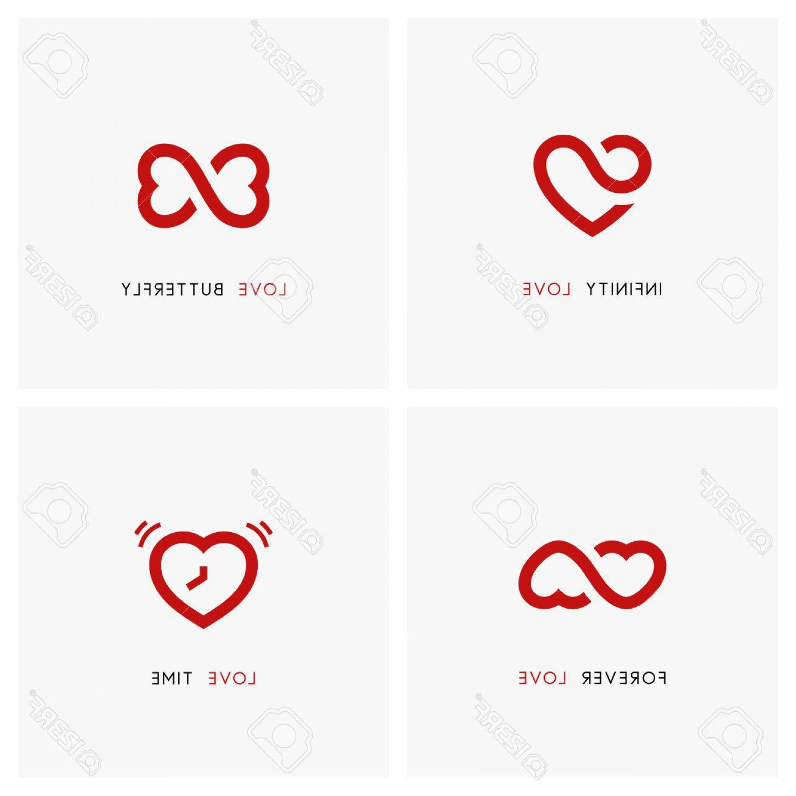 Vector Infinity Symbol Hearts: Photostock Vector Love Vector Logo Set Red Hearts Time And Infinity Symbols