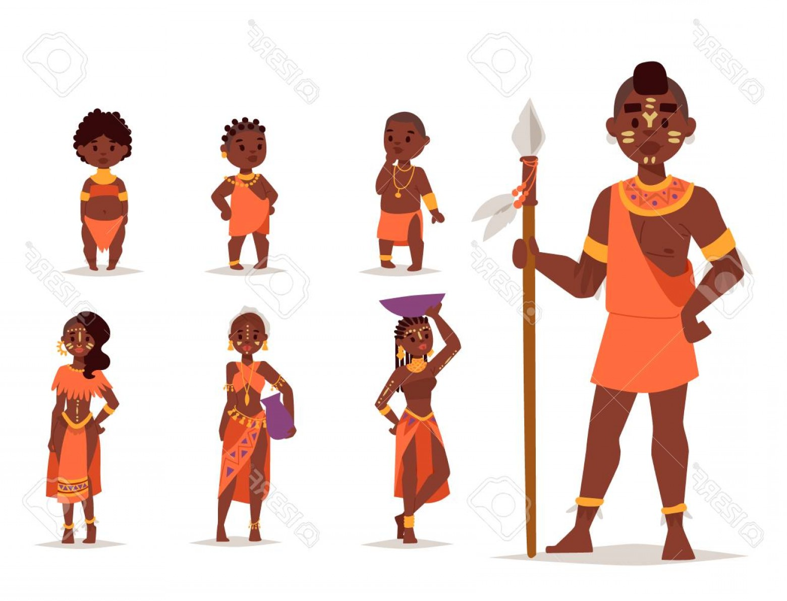 Vector African People: Photostock Vector Maasai African People In Traditional Clothing Happy Person Families Vector Illustration
