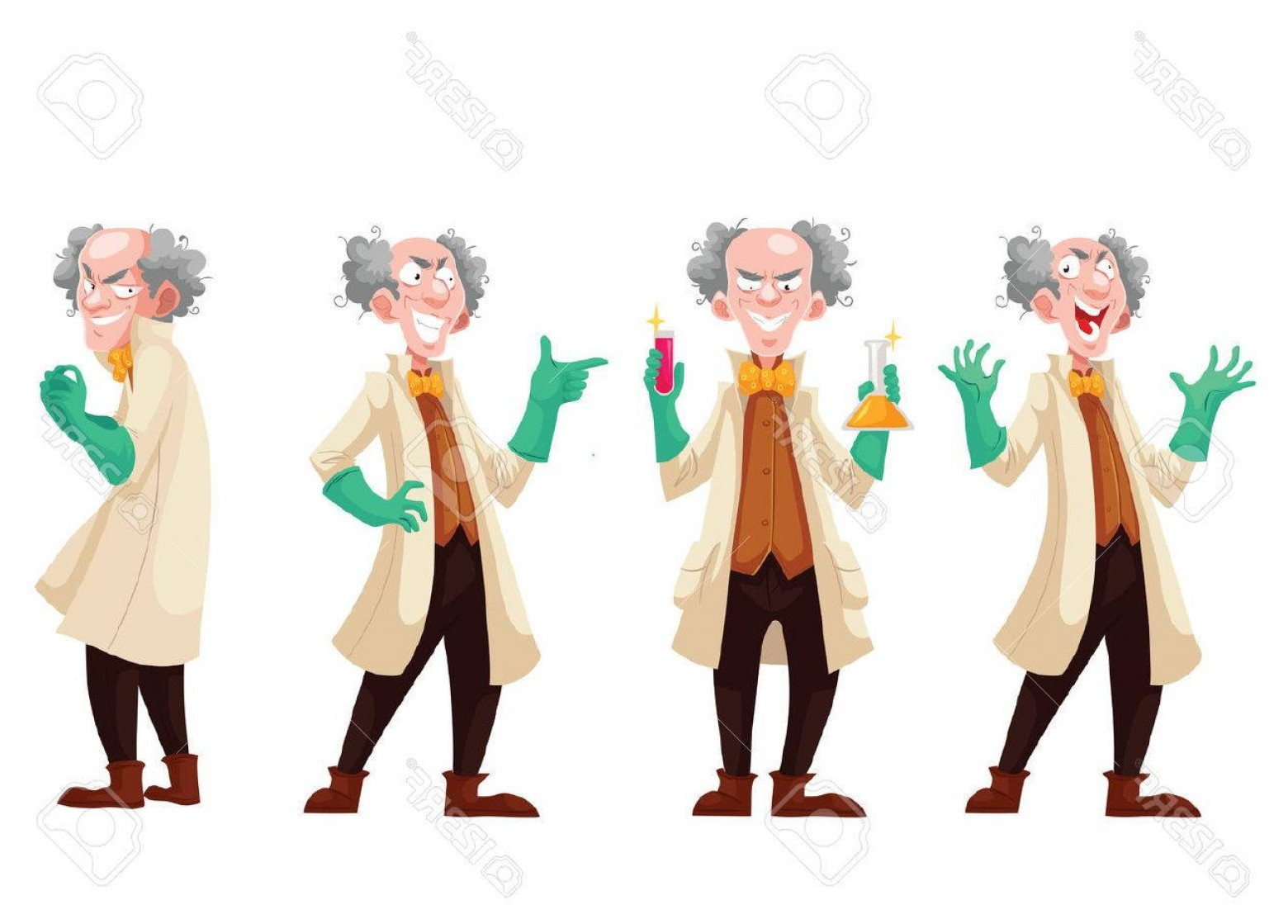 Lab Coat Cartoon Vector: Photostock Vector Mad Professor In Lab Coat And Green Rubber Gloves Cartoon Style Vector Illustration Isolated On Whit