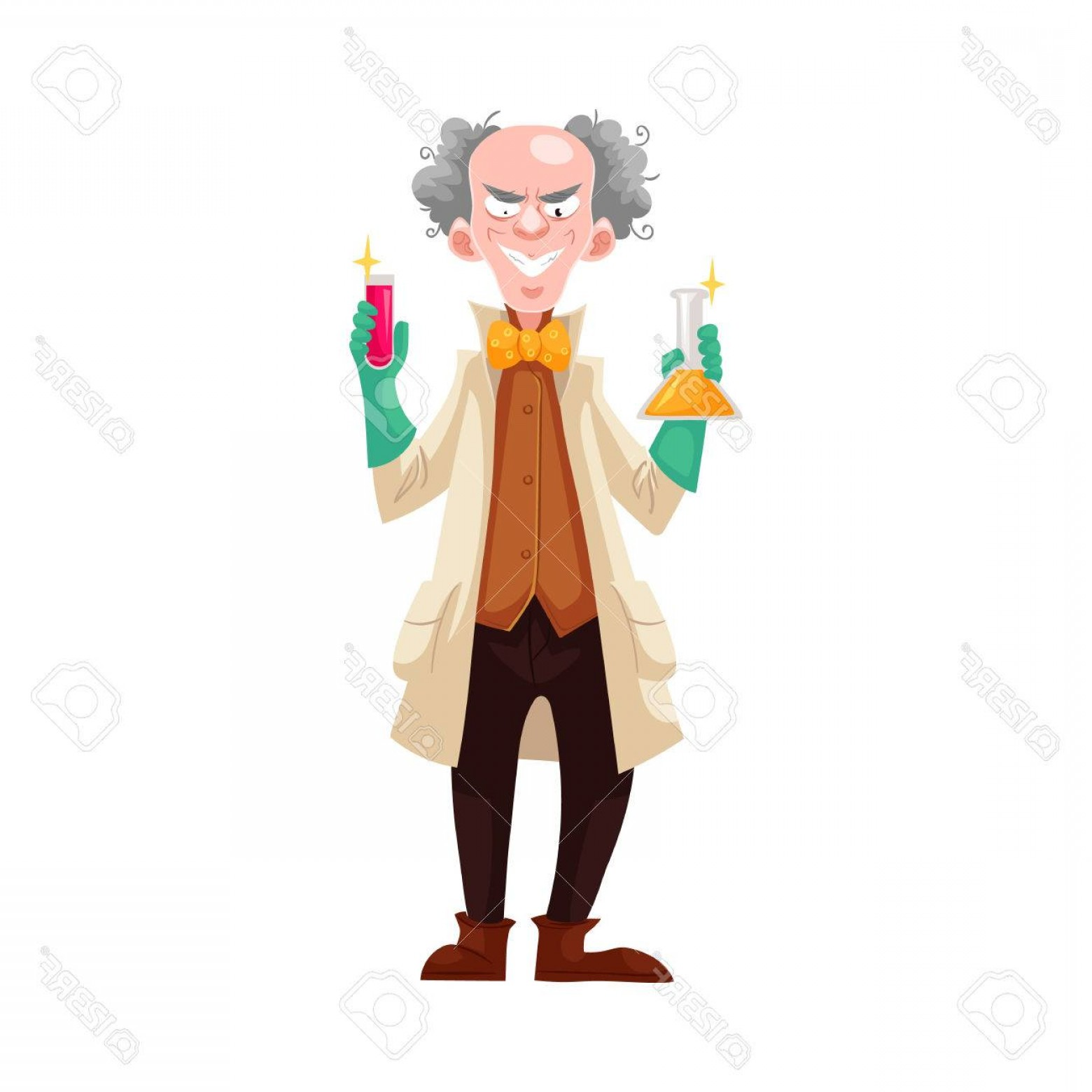 Lab Coat Cartoon Vector: Photostock Vector Mad Professor In Lab Coat And Green Rubber Gloves Holding Flasks Cartoon Vector Illustration Isolate