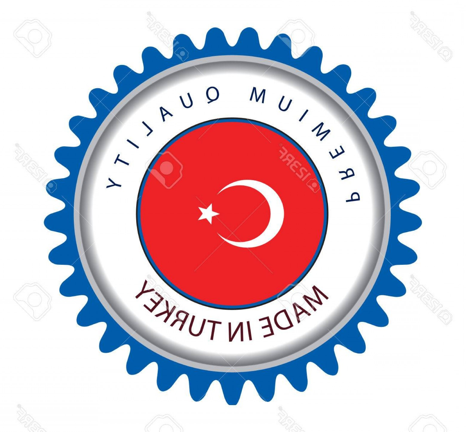 Turkey Logo Vector Art: Photostock Vector Made In Turkey Seal Turkish Flag Vector Art