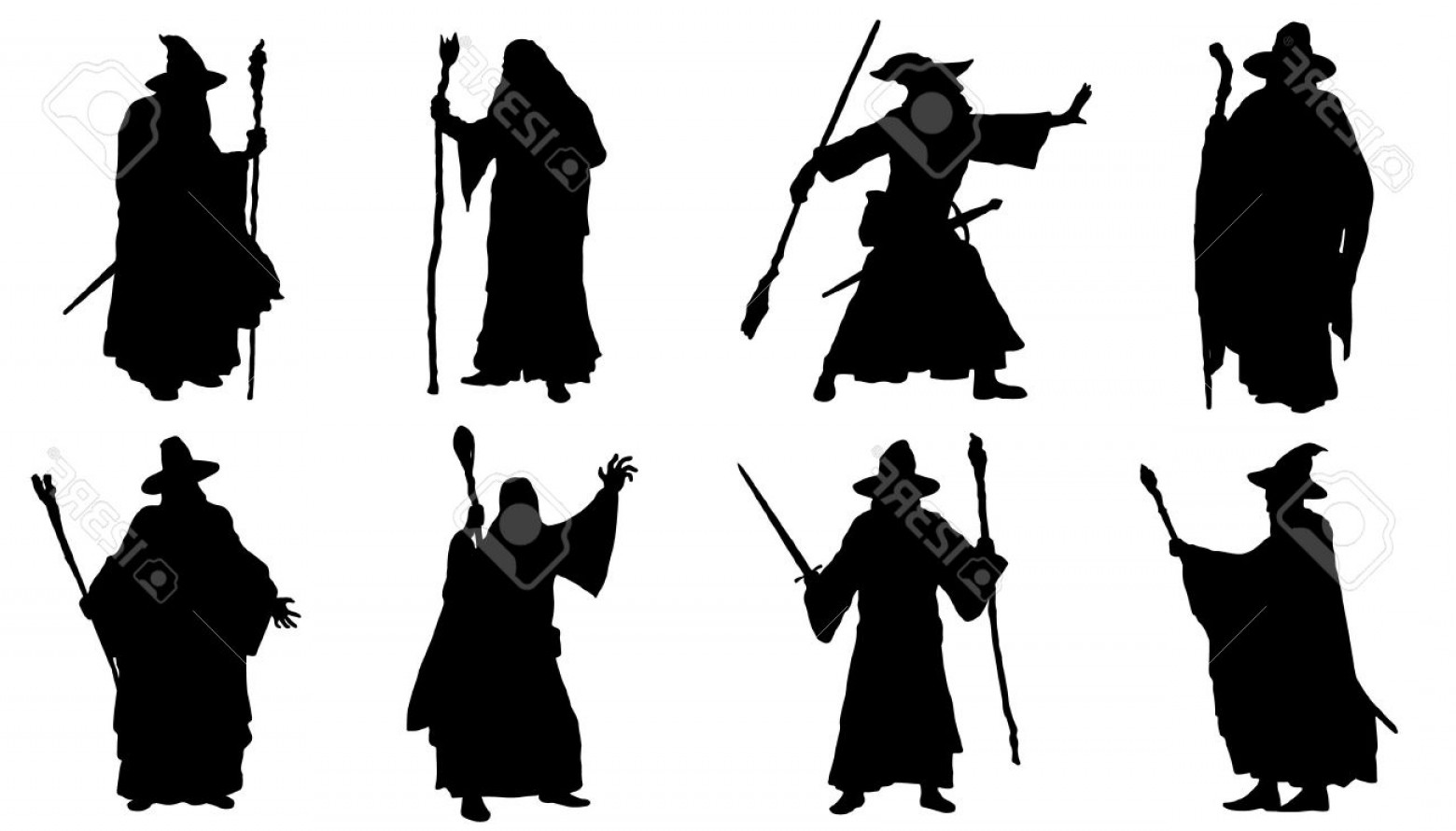 Wizard Silhouette Vector: Photostock Vector Mage Silhouettes On The White Background