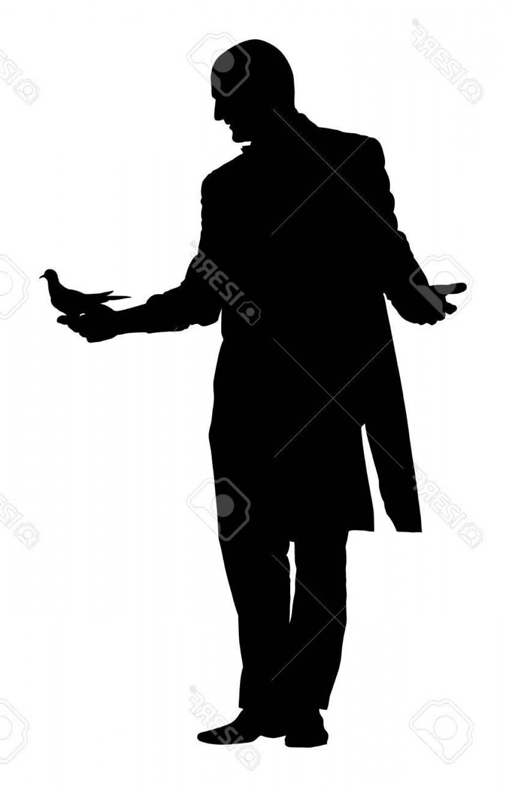 Wizard Silhouette Vector: Photostock Vector Magician Performing Trick With Pigeon Or Dove Vector Silhouette Illustration Isolated On White Backg
