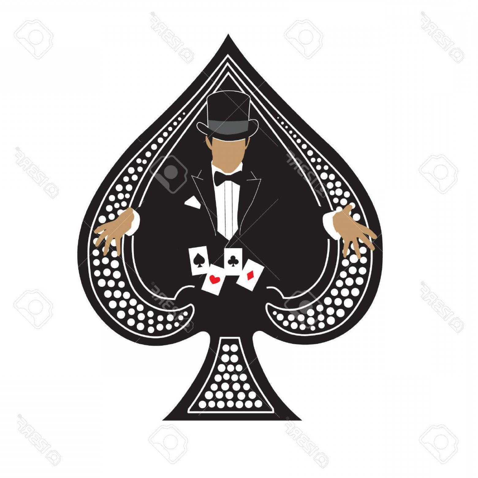 Spades Vector Art: Photostock Vector Magician Playing Cards In Ace Spades Vector