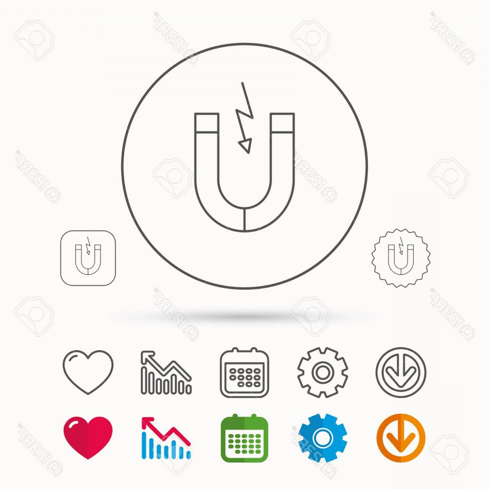 Graphing Vectors Physics: Photostock Vector Magnet Icon Magnetic Power Sign Physics Symbol Calendar Graph Chart And Cogwheel Signs Download And