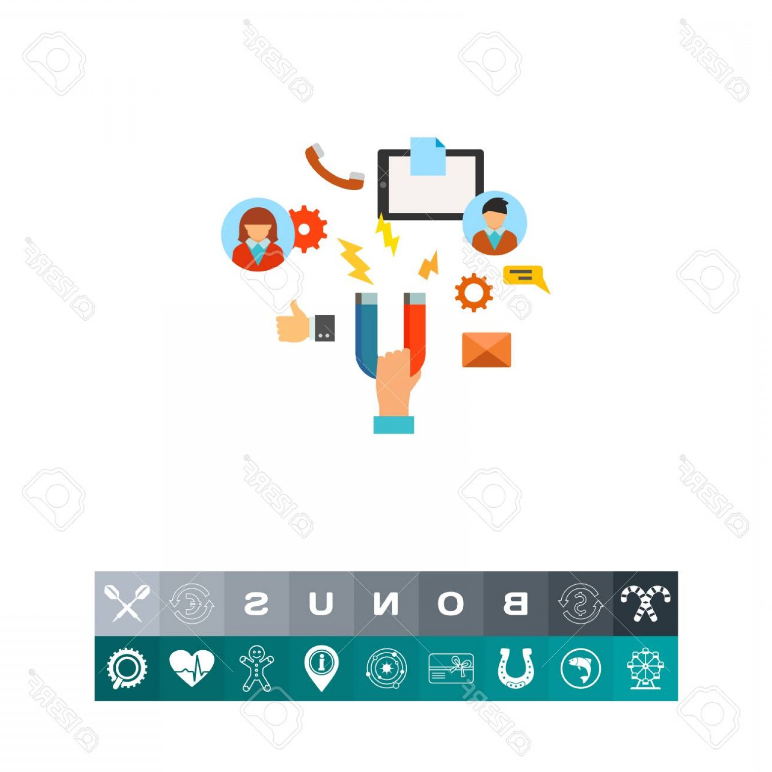 Attraction Icon Vector: Photostock Vector Magnet In Hand As Customer Attraction Icon