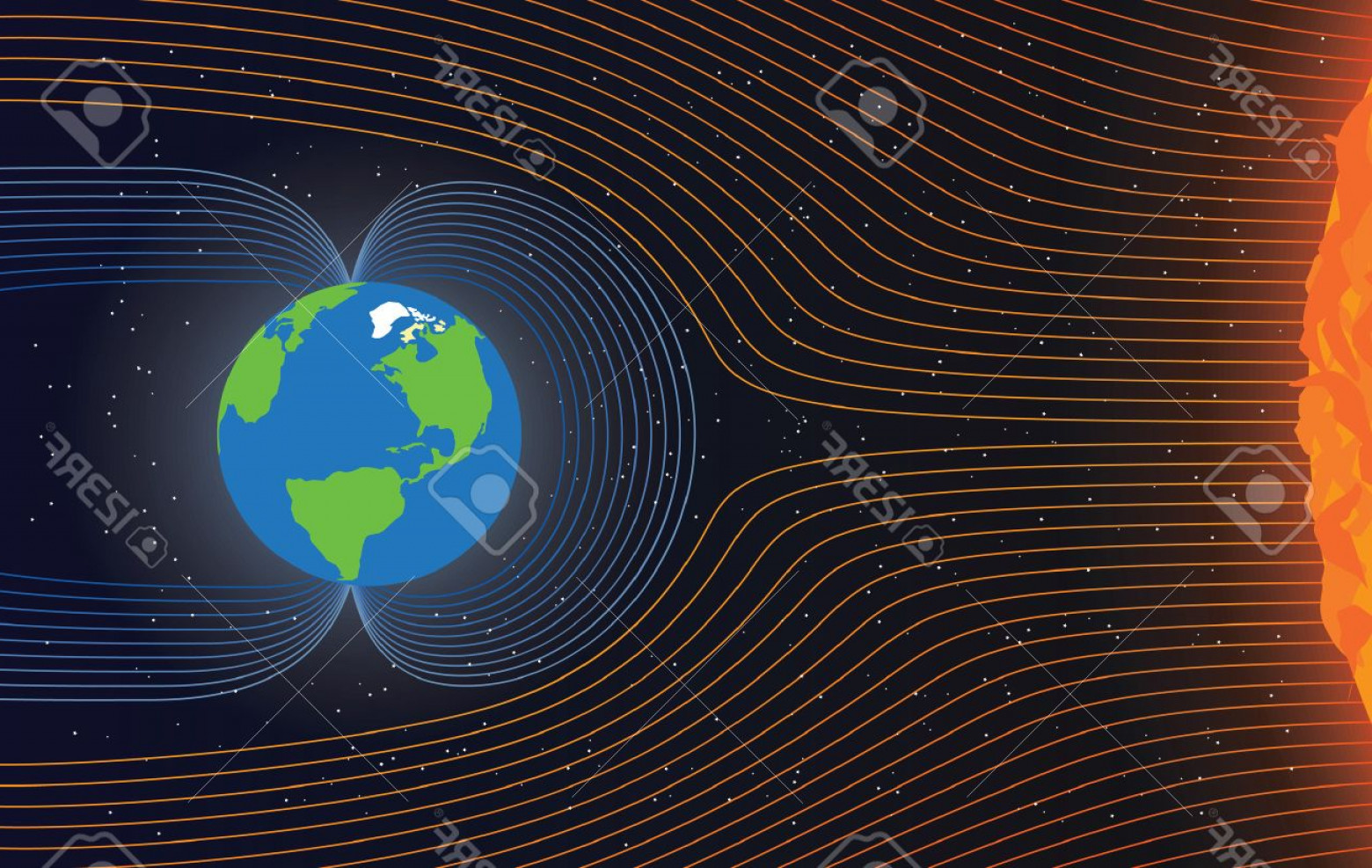 Wind Vector Field: Photostock Vector Magnetic Field Of Earth Protect The Earth From Solar Wind Illustration