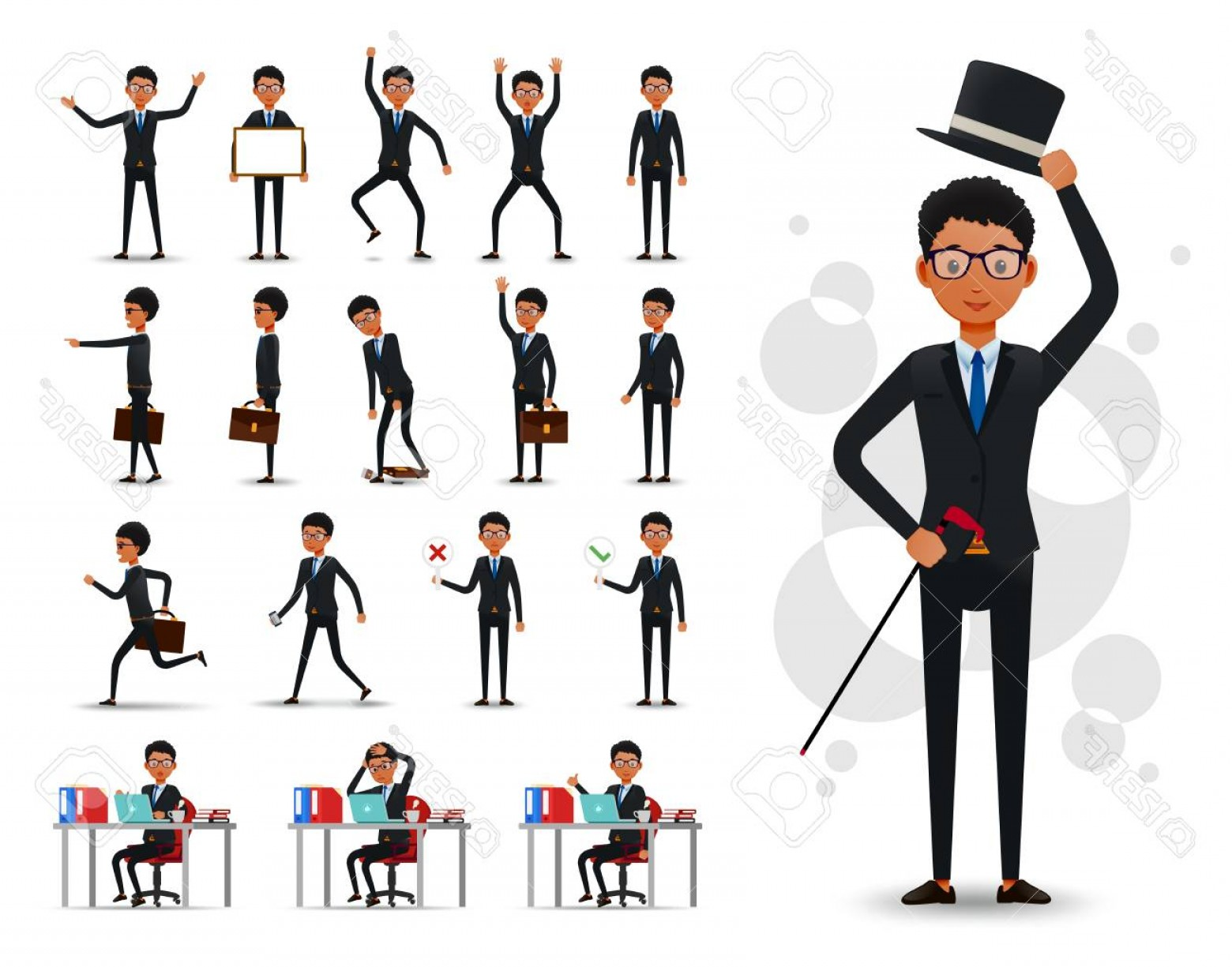 Position Vector 2D: Photostock Vector Male Black African Businessman D Character Ready To Use Set Wearing Suit And Tie Standing And Sitti
