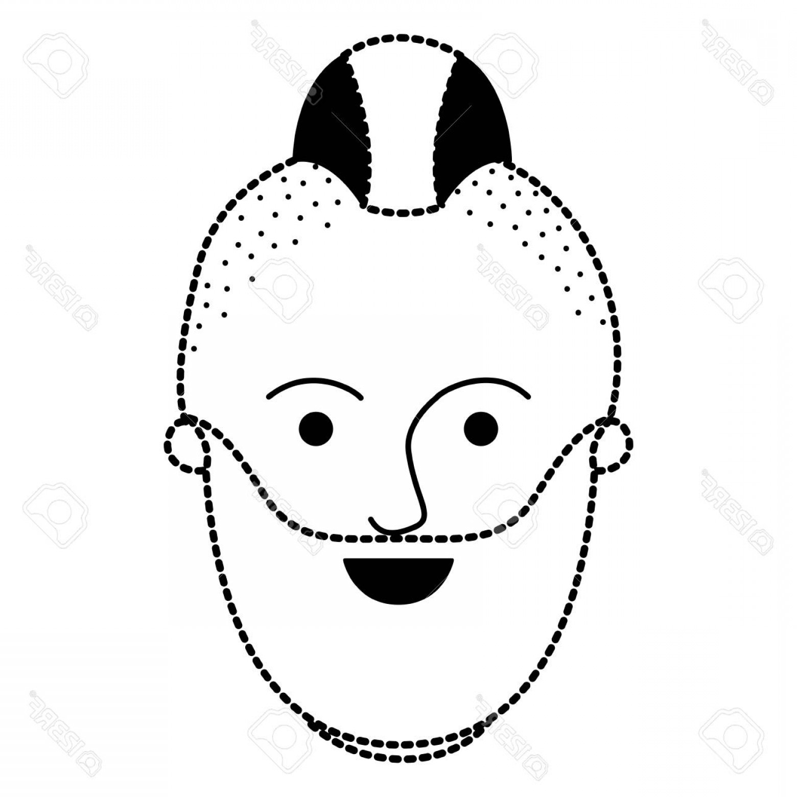 Vector Male Fade Hair: Photostock Vector Male Face With Taper Fade Haircut And Beard In Black Dotted Silhouette Vector Illustration