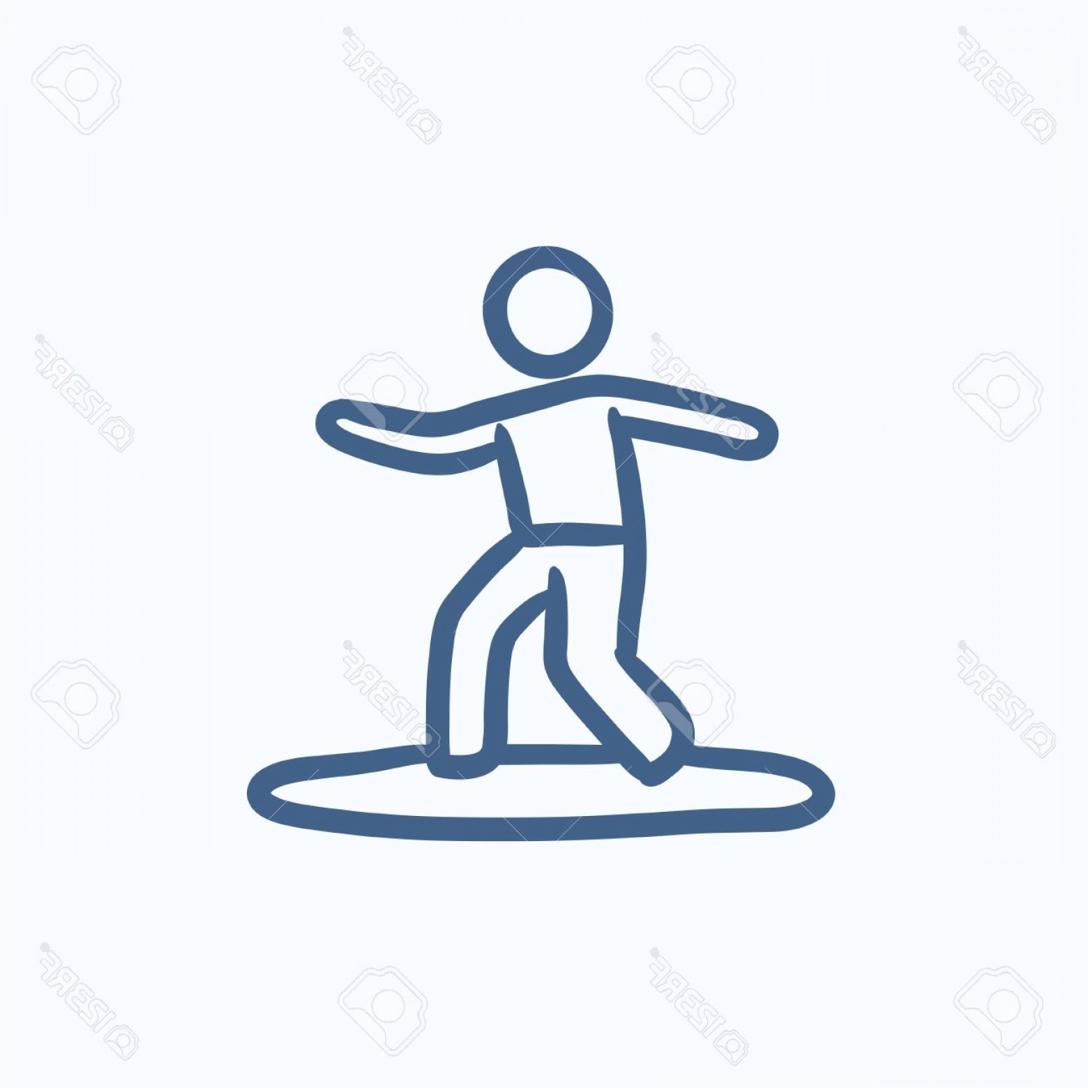 Surfboard Vector Drawing: Photostock Vector Male Surfer Riding On Surfboard Vector Sketch Icon Isolated On Background Hand Drawn Male Surfer Rid