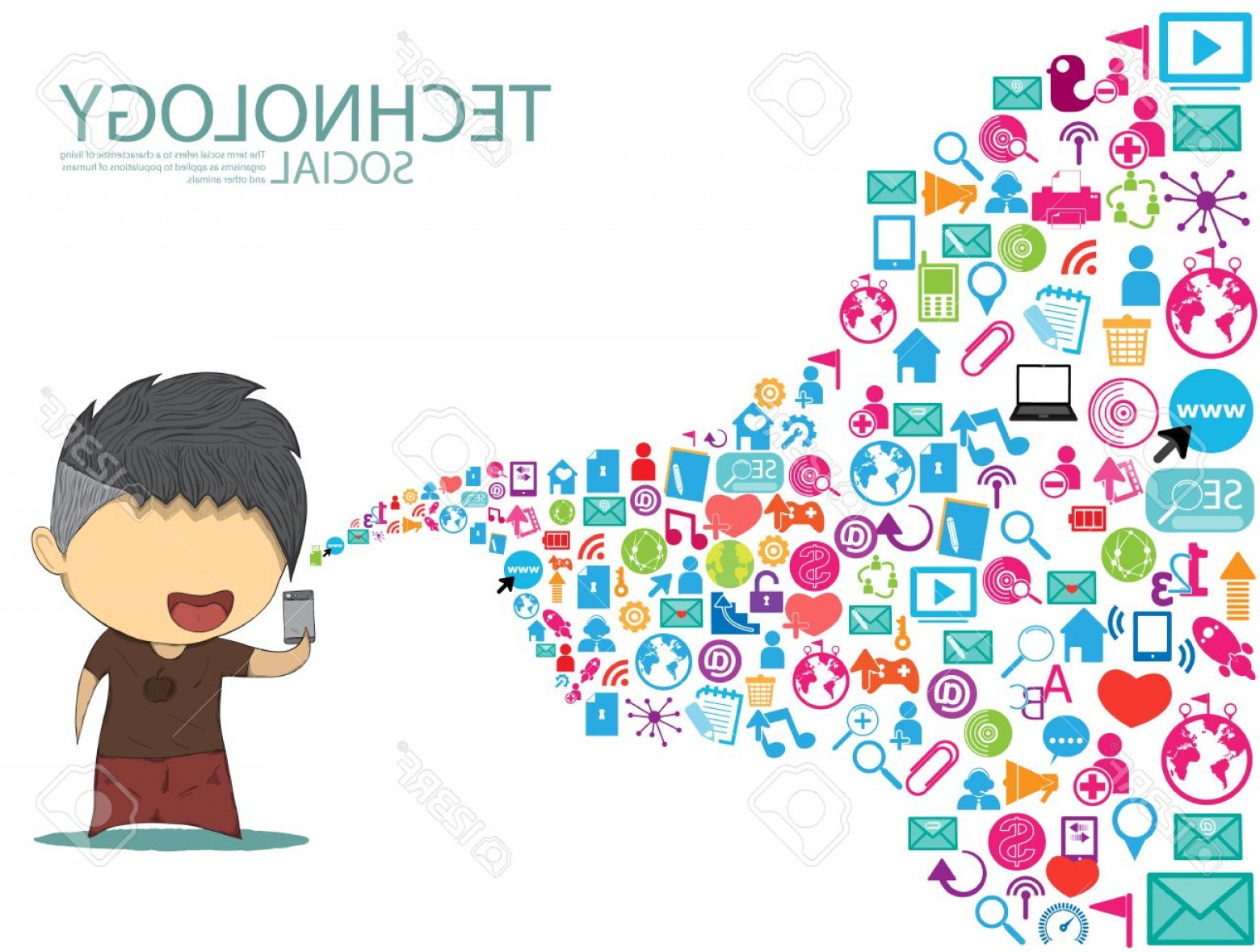 Vector Organisms On A Person: Photostock Vector Male Teens Playing With Phone Happy Template Design Thinking Idea With Social Network Icons Backgrou