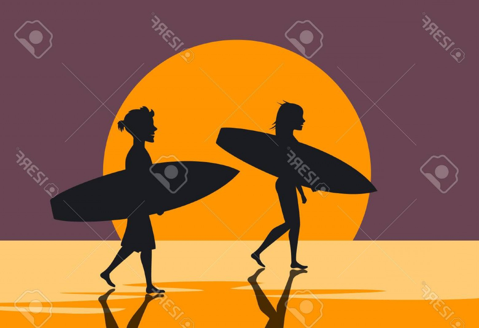 Surfer Beach Sunset Vector: Photostock Vector Man And Woman Surfers Couple Walking On Water On The Beach With Surfboards At Sunset Silhouettes Pos