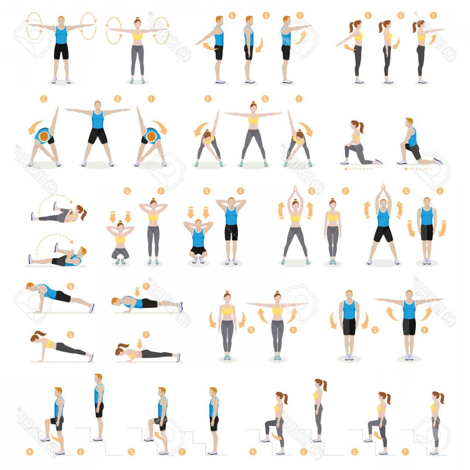 Man Vector Exercise: Photostock Vector Man And Woman Workout Fitness Aerobic And Exercises Vector Illustrations