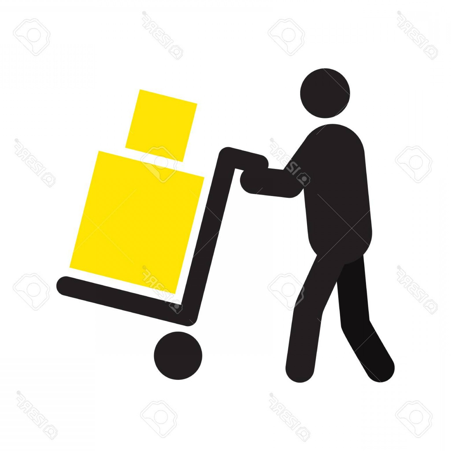 Hand Cart Silhouette Vectors: Photostock Vector Man Carrying Two Boxes With Hand Truck Silhouette Hand Cart Delivery Service Shipment Parcel Removal