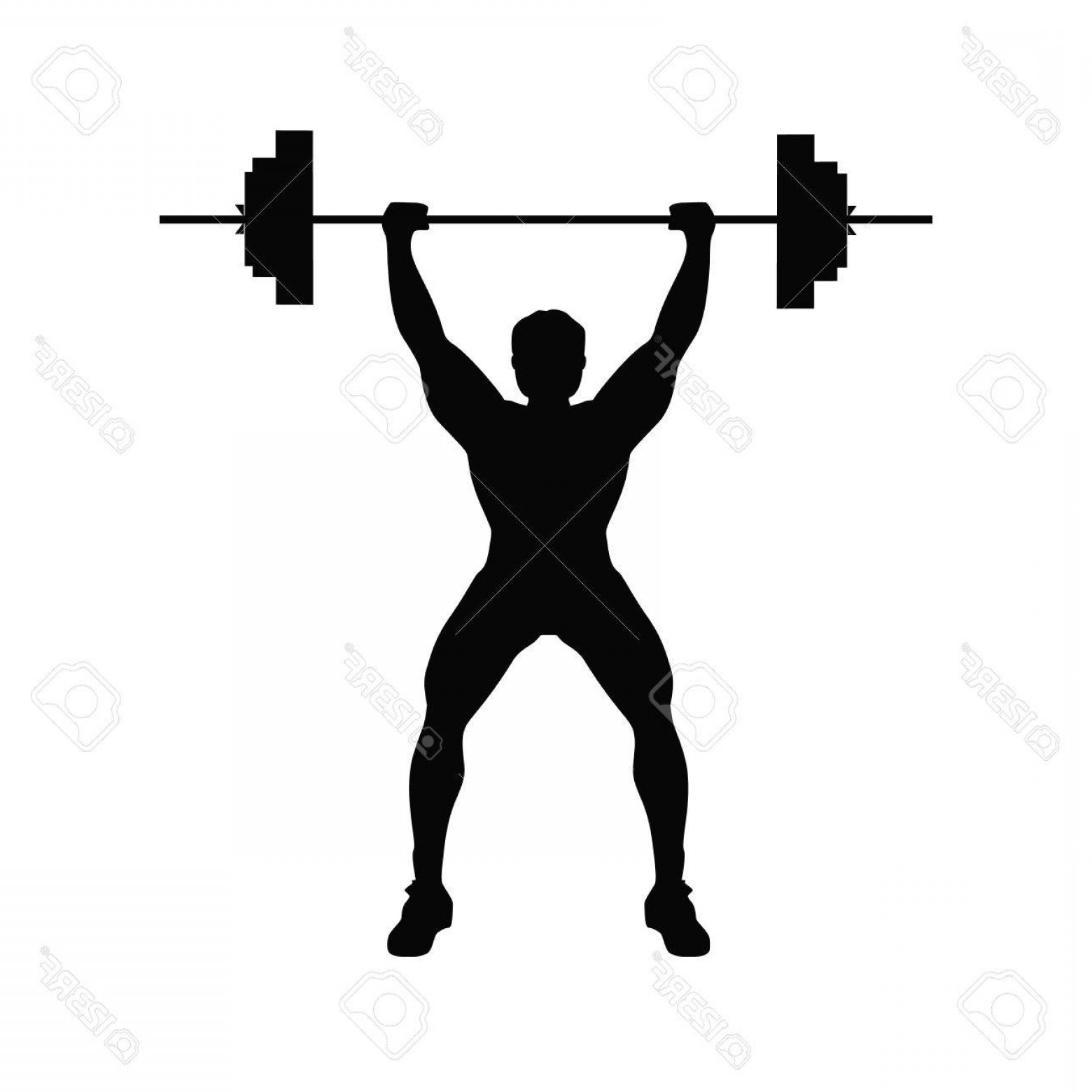 Vector Weight Lifting: Photostock Vector Man Doing Weight Lifting Isolated Black Silhouette Of A Man Doing Weight Lifting On White Background