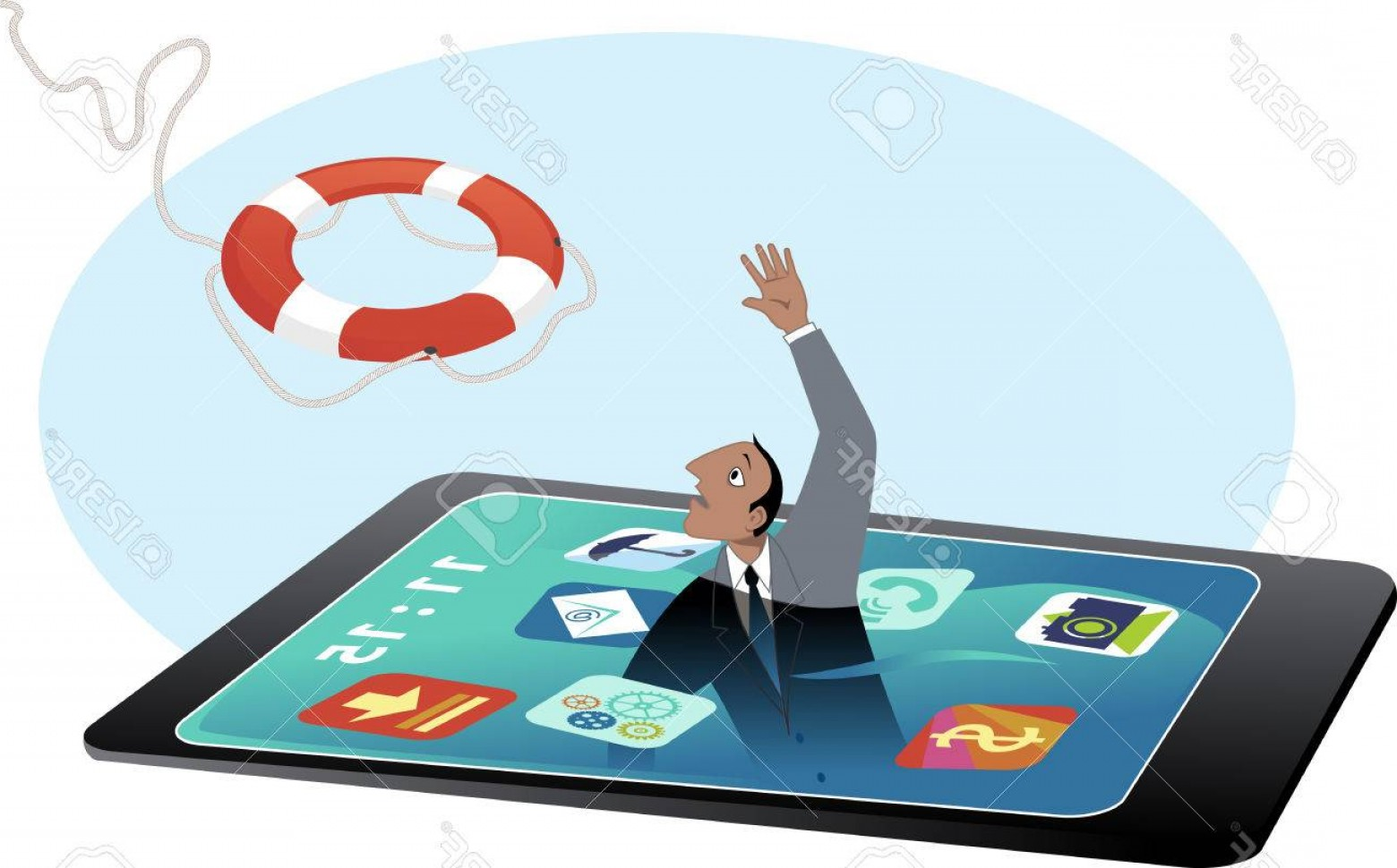 Man Drowning Vector: Photostock Vector Man Drowning In A Smartphone Screen Reaching For A Lifebuoy Vector Illustration No Transparencies No