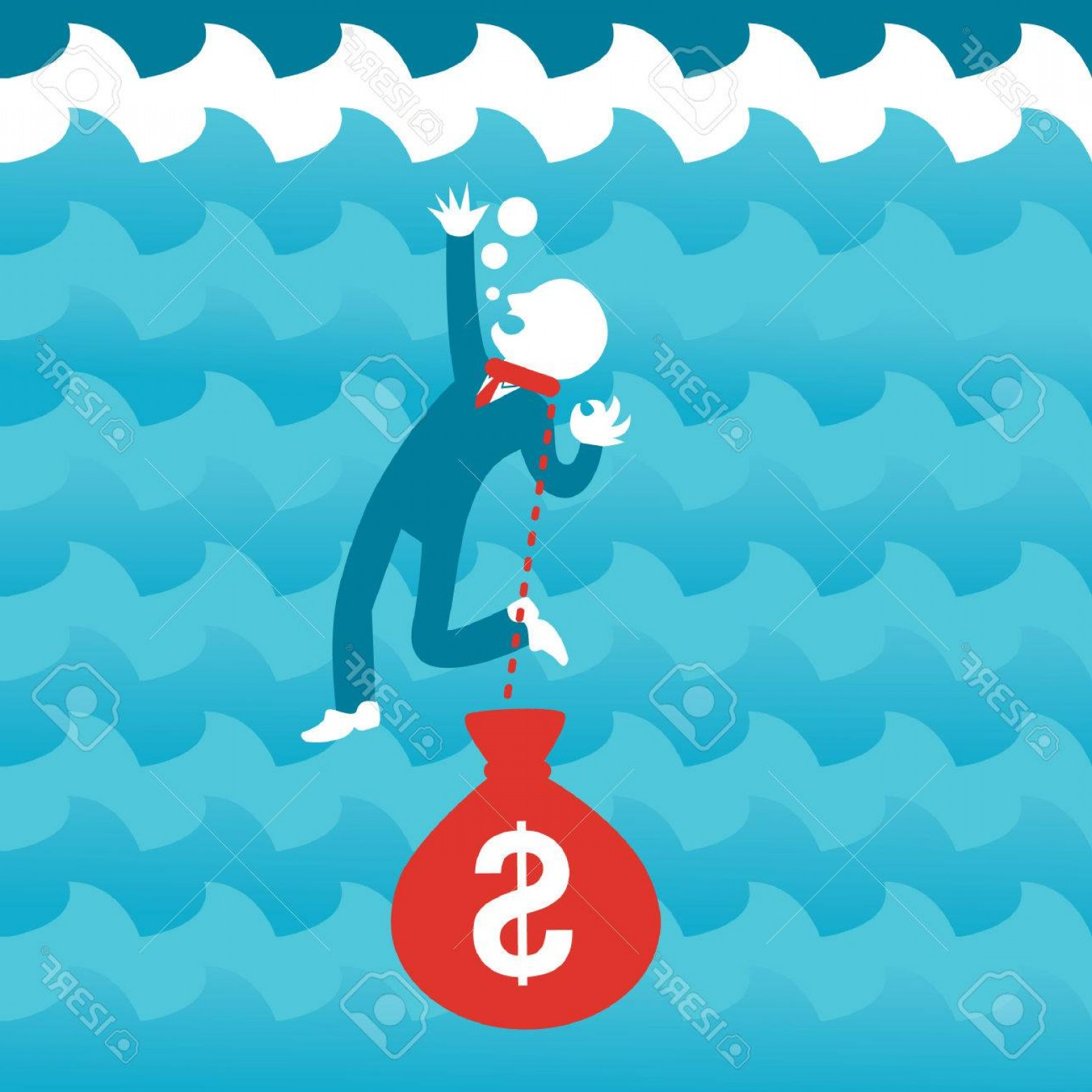 Man Drowning Vector: Photostock Vector Man Drowning In Debt