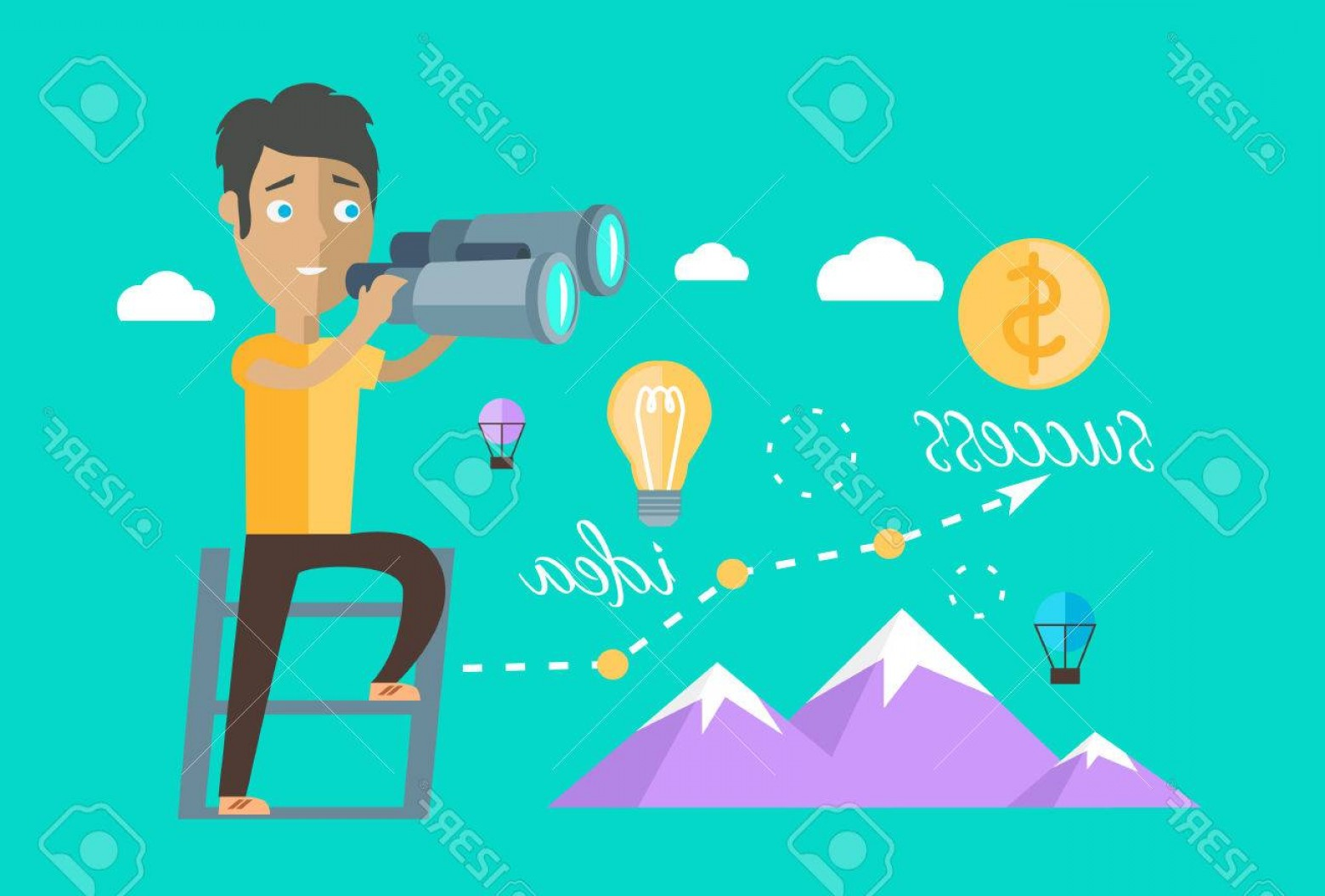 Vector Job Opportunities: Photostock Vector Man Finding Opportunities Concept Success Business Career Chance Job Or Work Find And Search Occupat