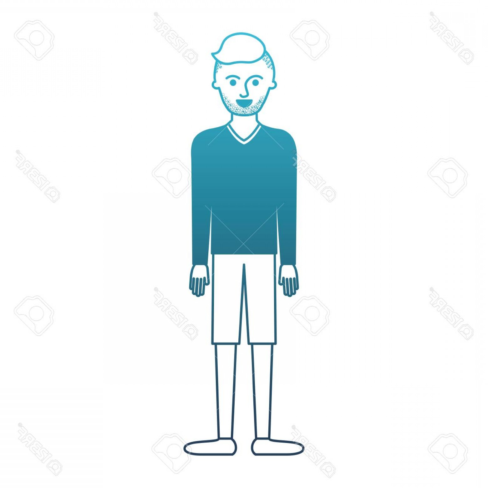 Vector Male Fade Hair: Photostock Vector Man Full Body With T Shirt Long Sleeve And Short Pants And Shoes With High Fade Haircut And Stubble