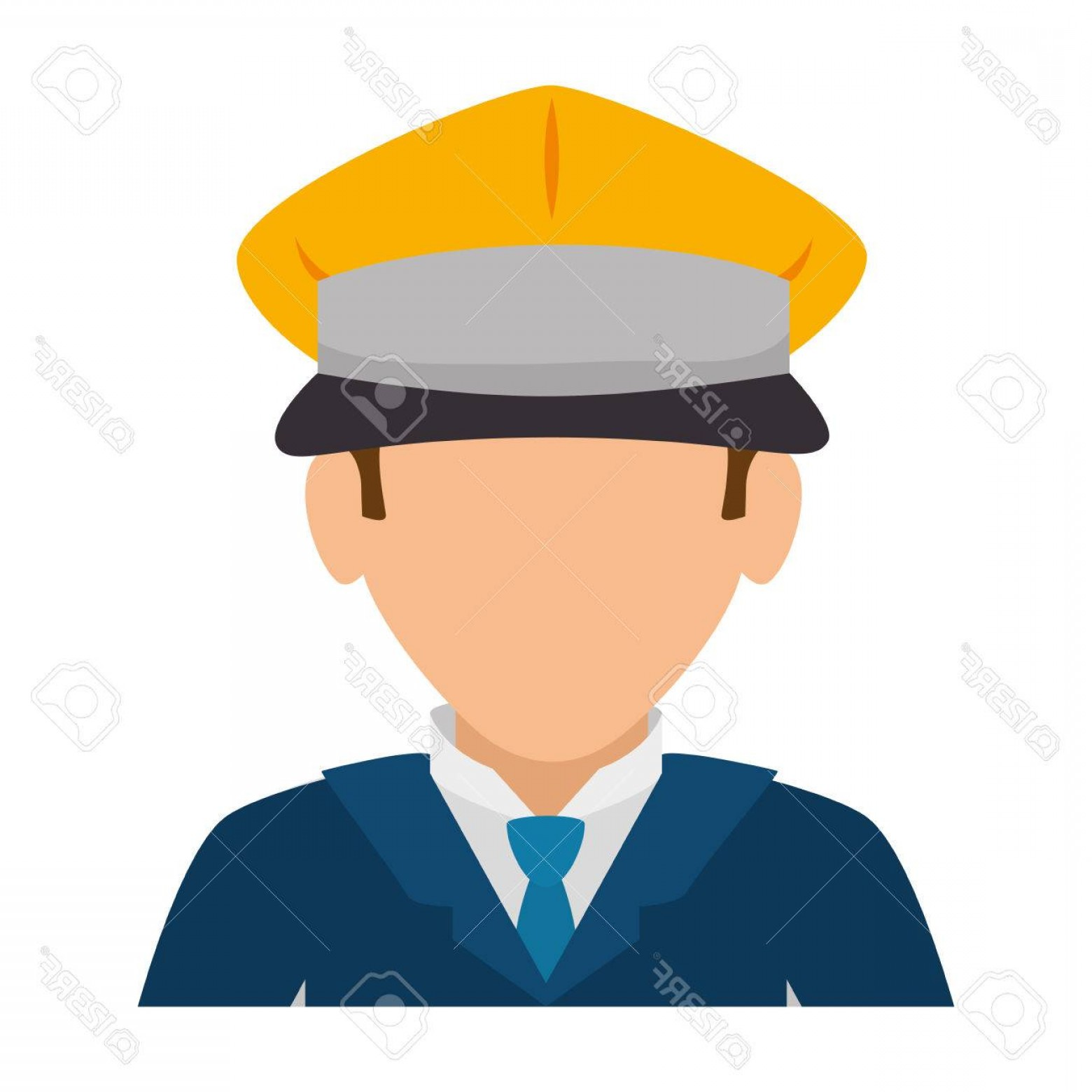 Chauffer Driver Cap Vector: Photostock Vector Man Hat Suit Tie Chauffer Driver Service Male Guy Cartoon Vector Illustration