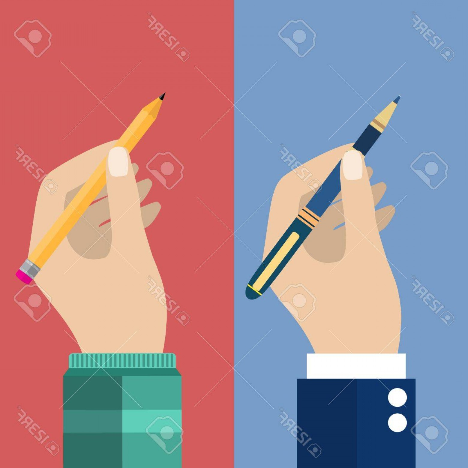 Notepad Writing Hand Vector: Photostock Vector Man Holding A Pencil And Pen For Writing Vector Illustration In Flat Design Writer Journalist Studen