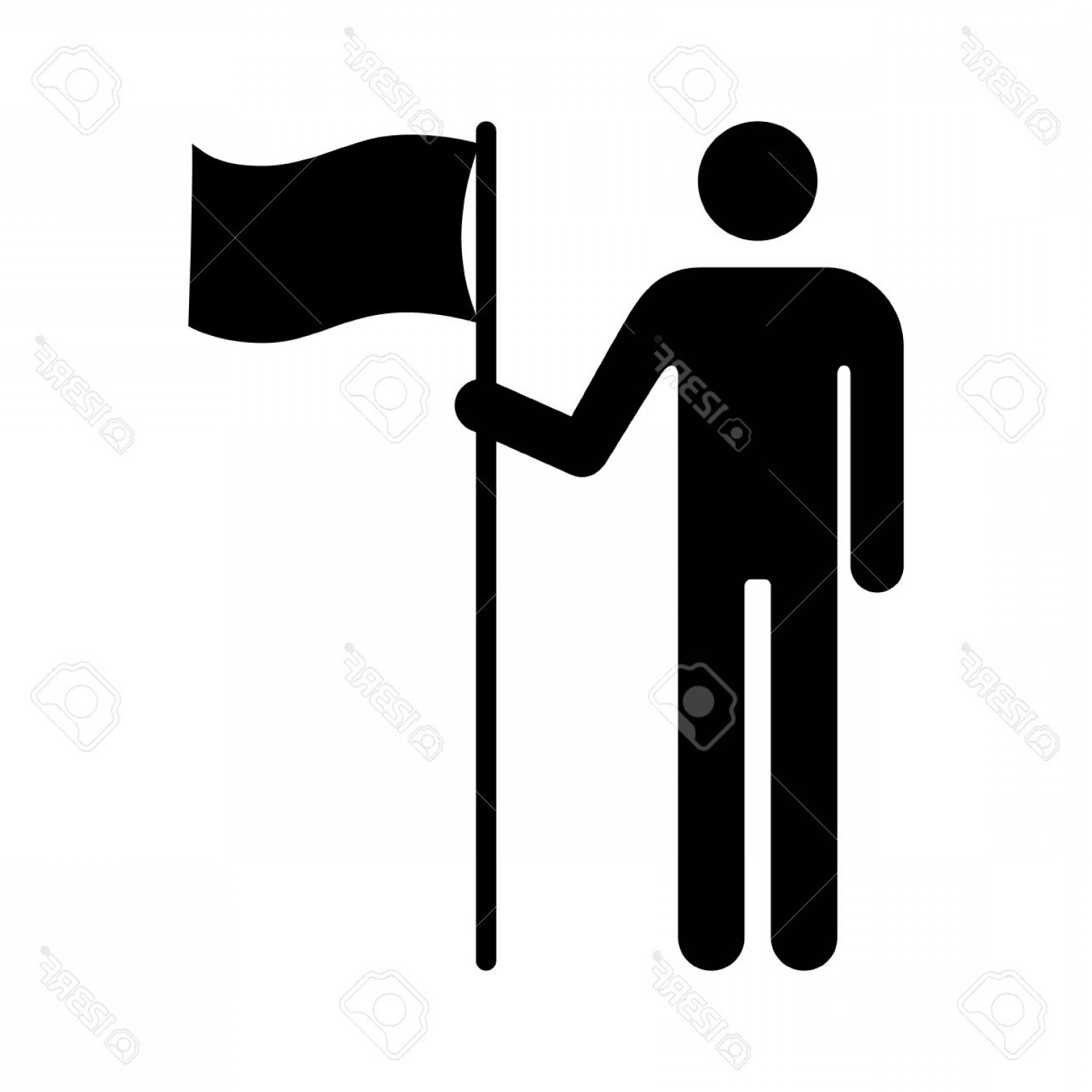 Vector Person Holding: Photostock Vector Man Holding Flag Or Person Holding Flag Flat Icon For Apps And Websites