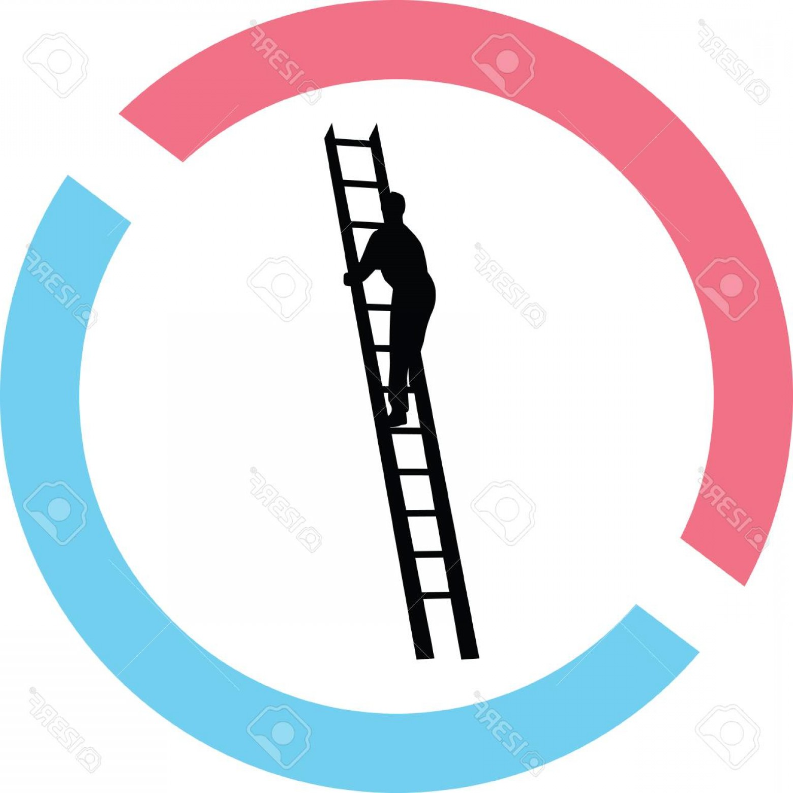 Ladder Silhouette Vector: Photostock Vector Man In Ladder Silhouette In Red And Blue Circle