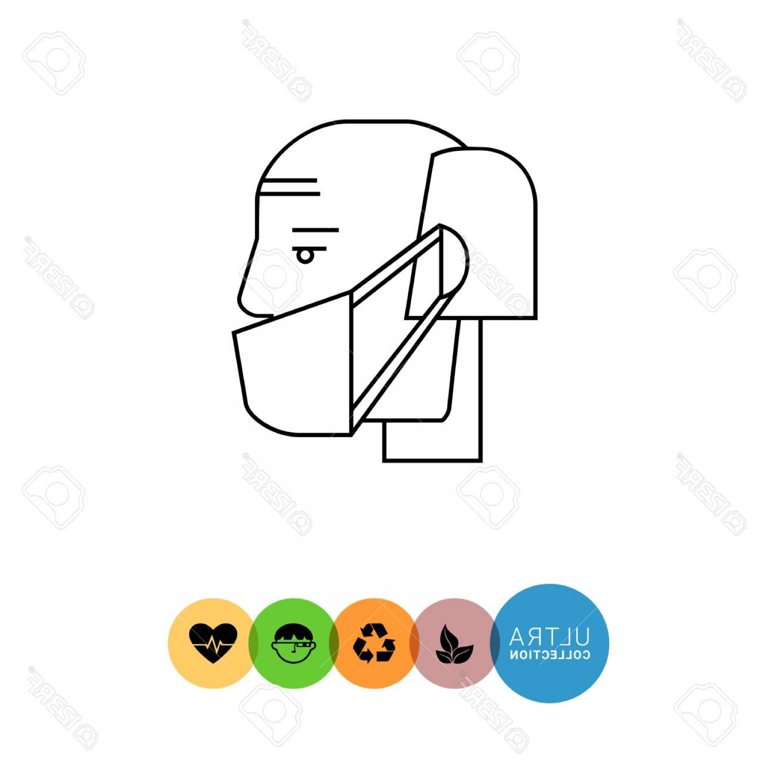 Old Male Icon Vector: Photostock Vector Man In Medical Mask Line Icon Vector Illustration Of Old Male Character In Medical Mask In Profile