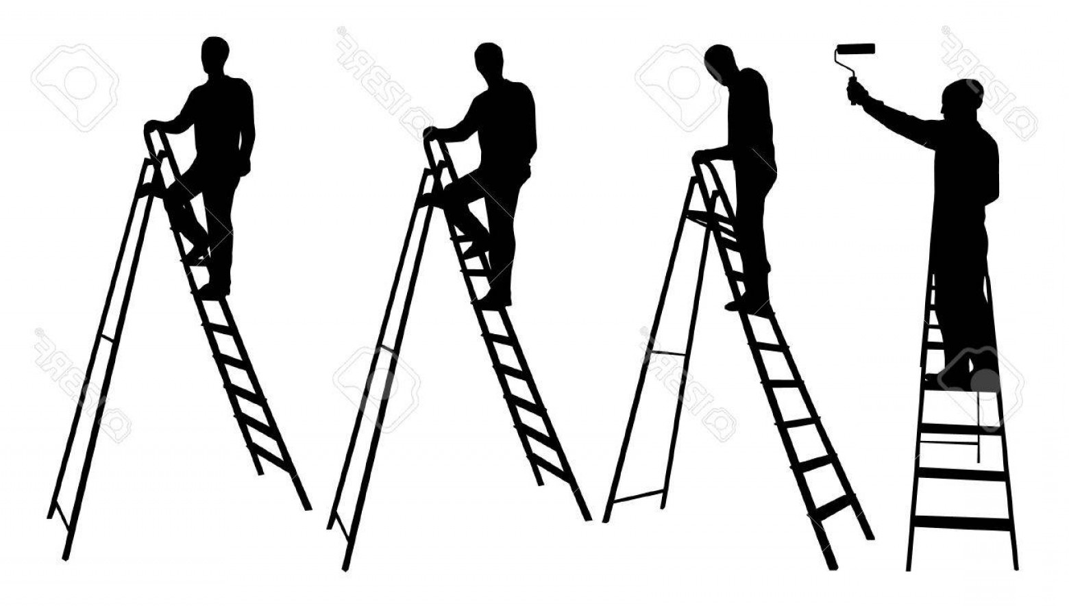 Ladder Silhouette Vector: Photostock Vector Man On Ladder Silhouettes