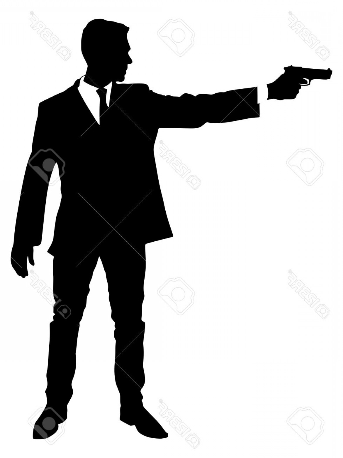 James Bond Silhouette Vector: Photostock Vector Man Shooting Gun Vector