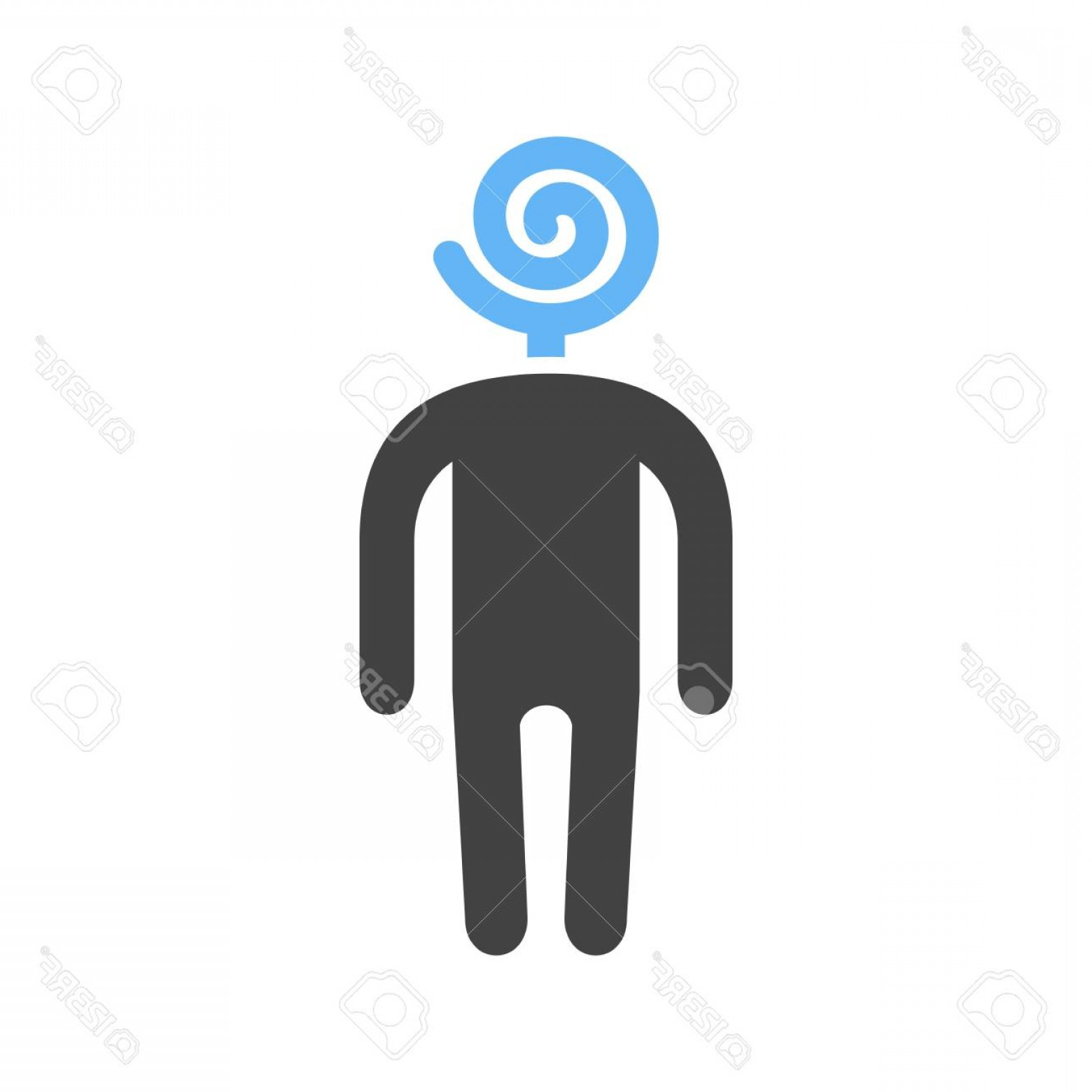 Lollipop Vector Silhouette: Photostock Vector Man Silhouette With A Lollipop For A Head Vector Illustration Isolated On White Background