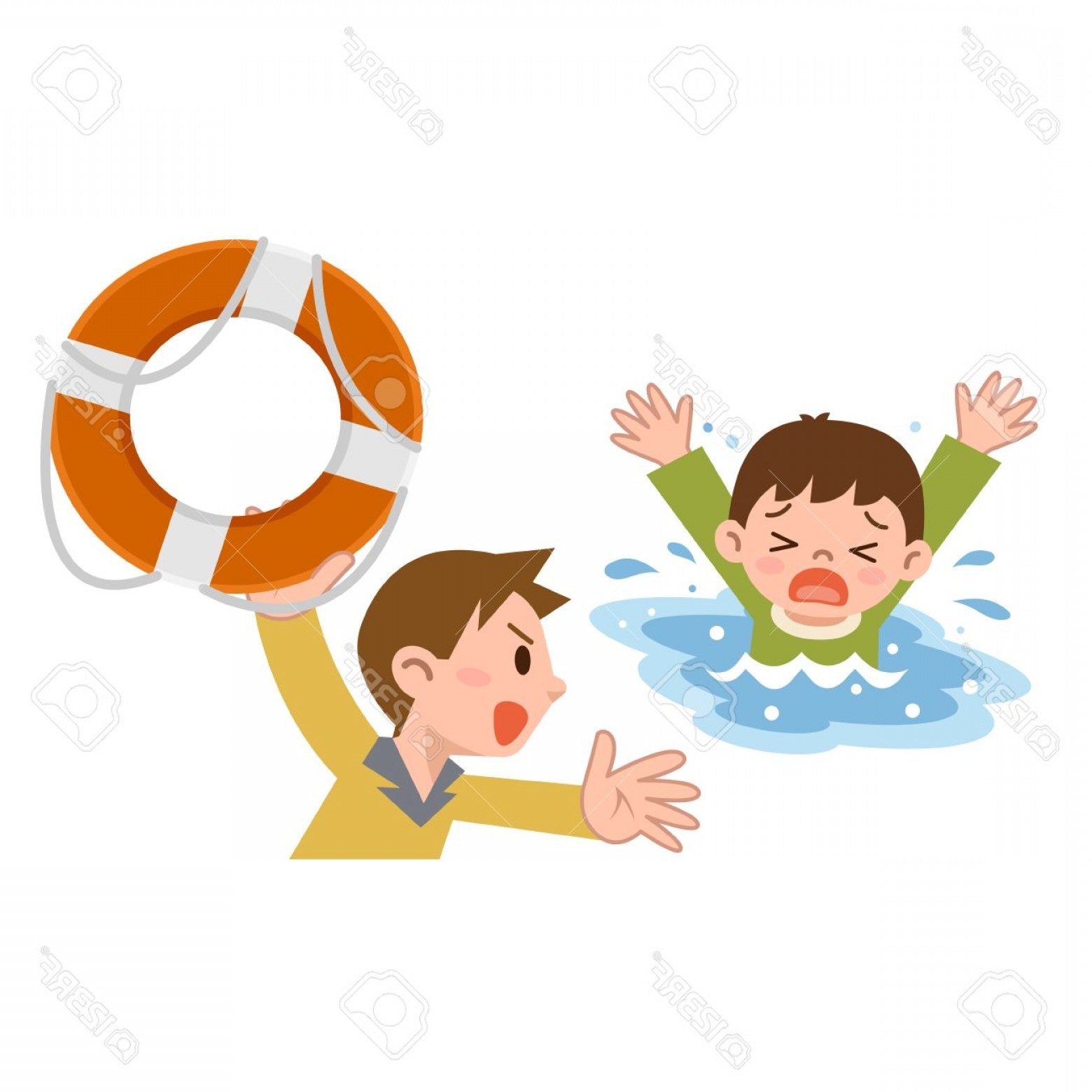 Man Drowning Vector: Photostock Vector Man To Rescue The Children From Drowning