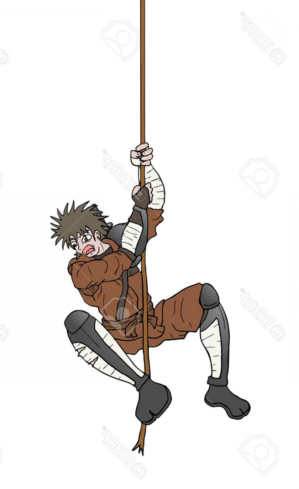 Climbing Army Vector: Photostock Vector Man Warrior Climbing Stick Draw