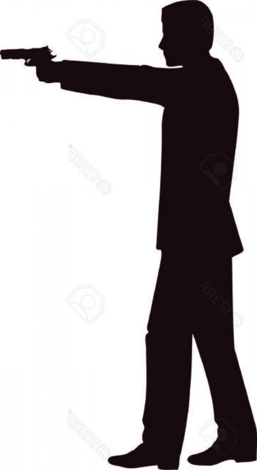 James Bond Silhouette Vector: Photostock Vector Man With Gun Silhouette