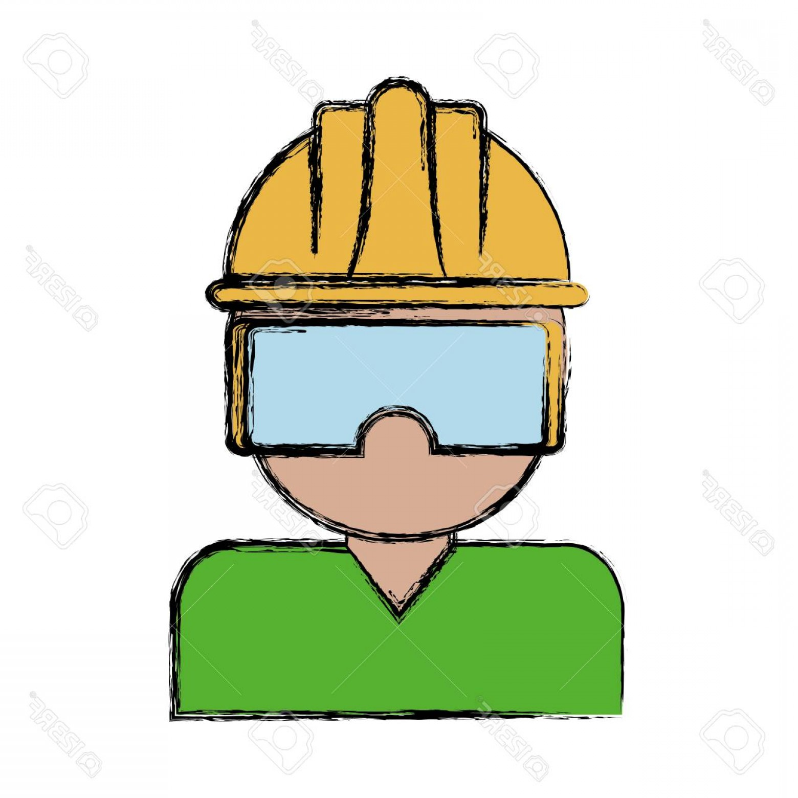 Construction Safety Goggles Vector: Photostock Vector Man With Safety Goggles And Helmet Icon Over White Background Colorful Design Vector Illustration