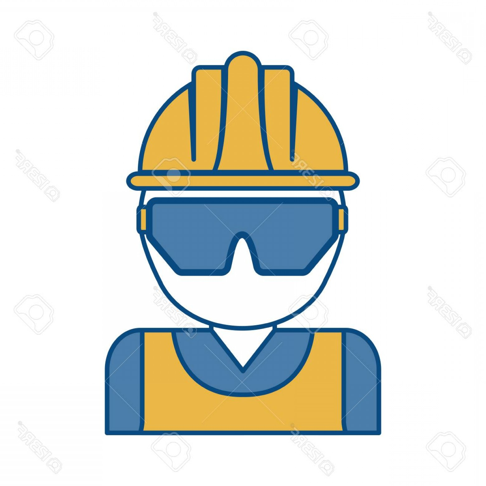Construction Safety Goggles Vector: Photostock Vector Man With Safety Goggles And Helmet Icon