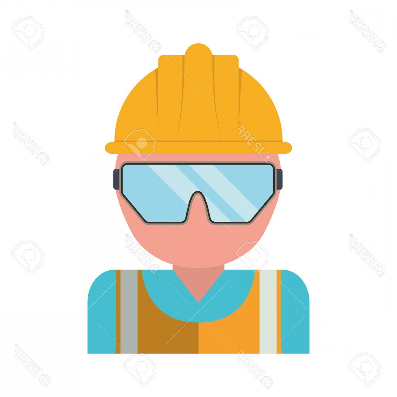 Construction Safety Goggles Vector: Photostock Vector Man With Safety Helmet And Goggles Icon Over White Background Industrial Security Concept Vector Ill