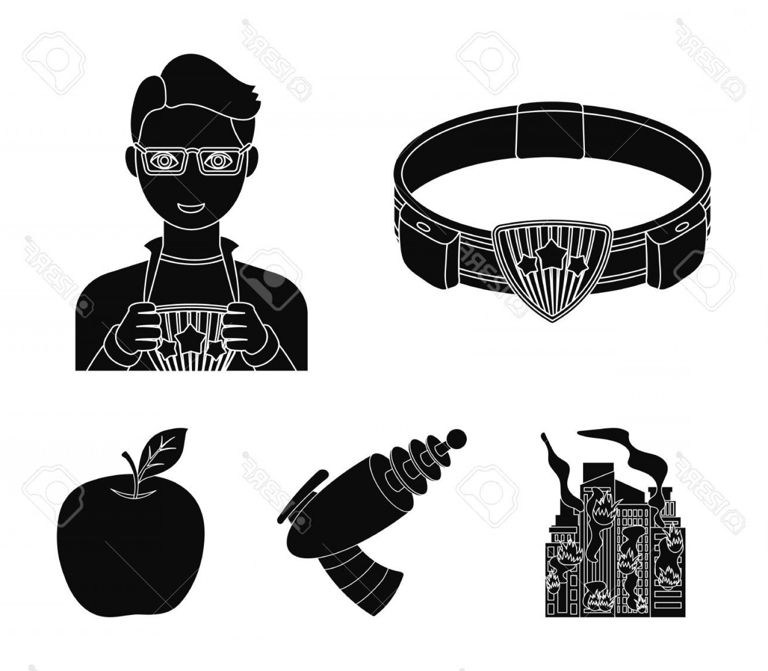 Superman Black And White Vector: Photostock Vector Man Young Glasses And Other Icon In Black Style Superman Belt Gun Icons In Set Collection