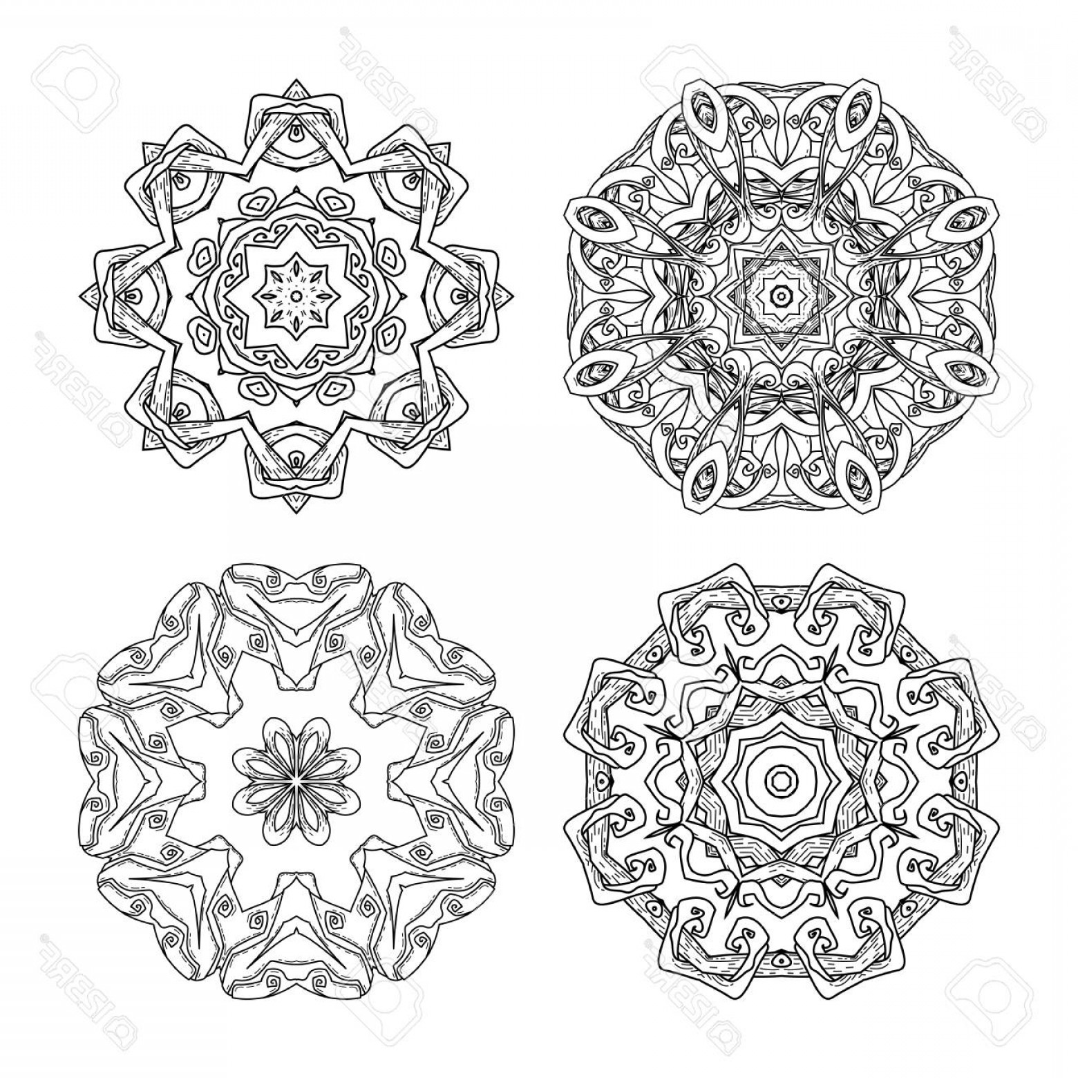 Vector Ornament Sets: Photostock Vector Mandala Set Abstract Decorative Background Islam Arabic Oriental Indian Ottoman Yoga Motifs Vector O
