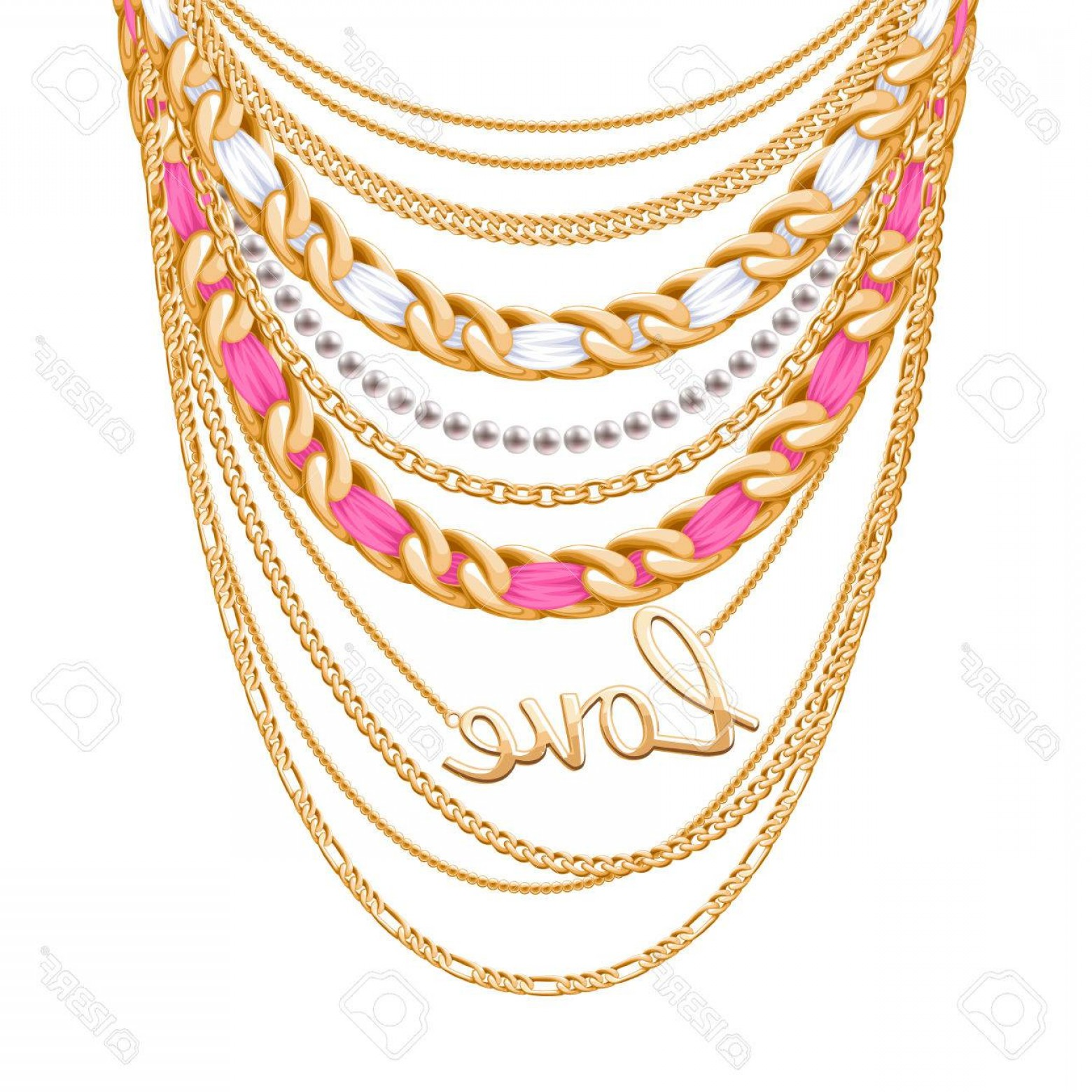 Necklace Vector Chain Grapicts: Photostock Vector Many Chains Golden Metallic And Pearls Necklace Ribbons Wrapped Love Word Pendant Personal Fashion A