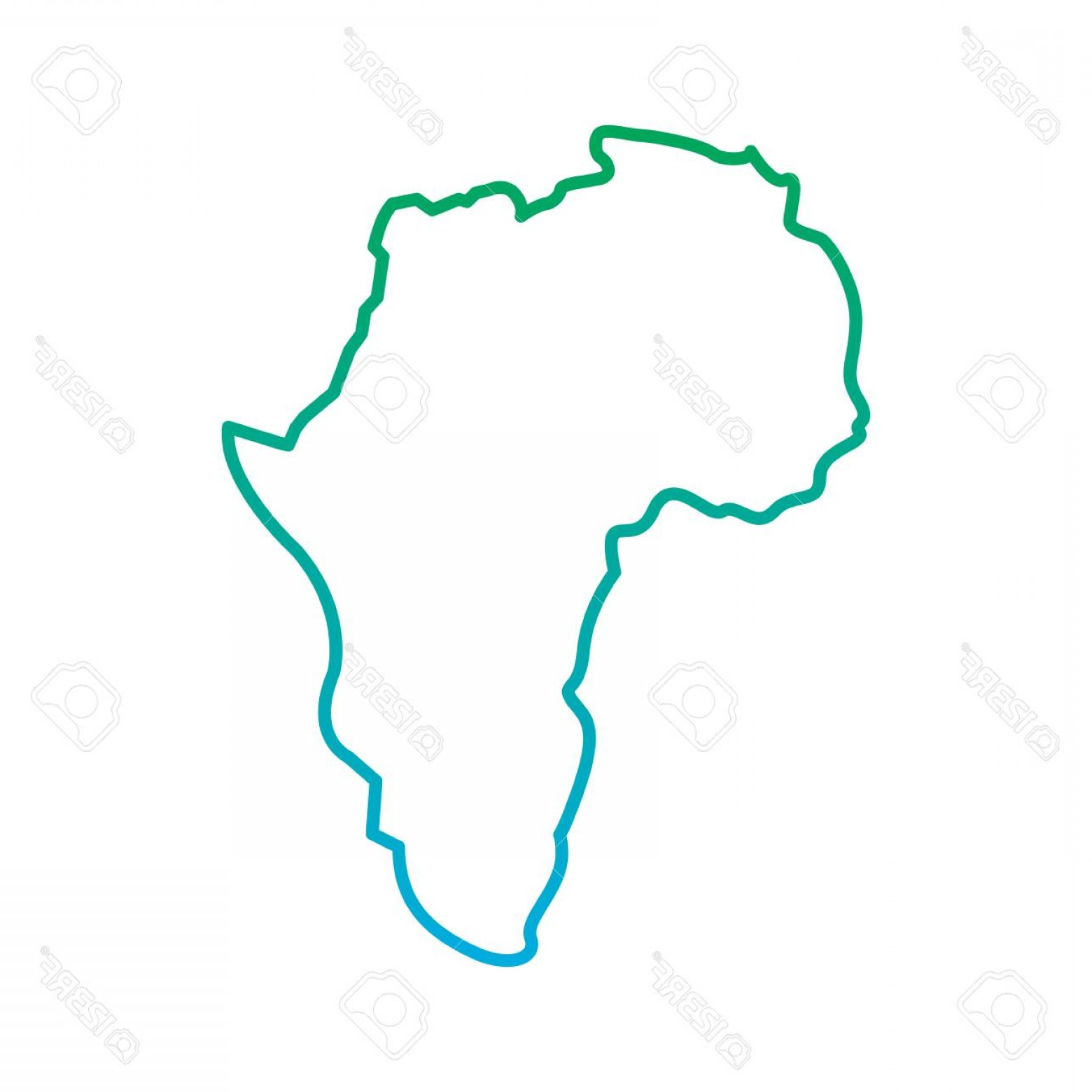 BG Vector Map: Photostock Vector Map Of Africa Continent Silhouette On A White Background Vector Illustration Blue And Green Line Deg