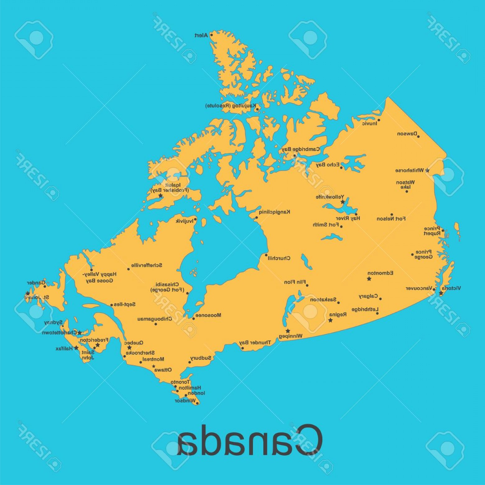 BG Vector Map: Photostock Vector Map Of Canada With Cities On A Blue Background Vector Illustration