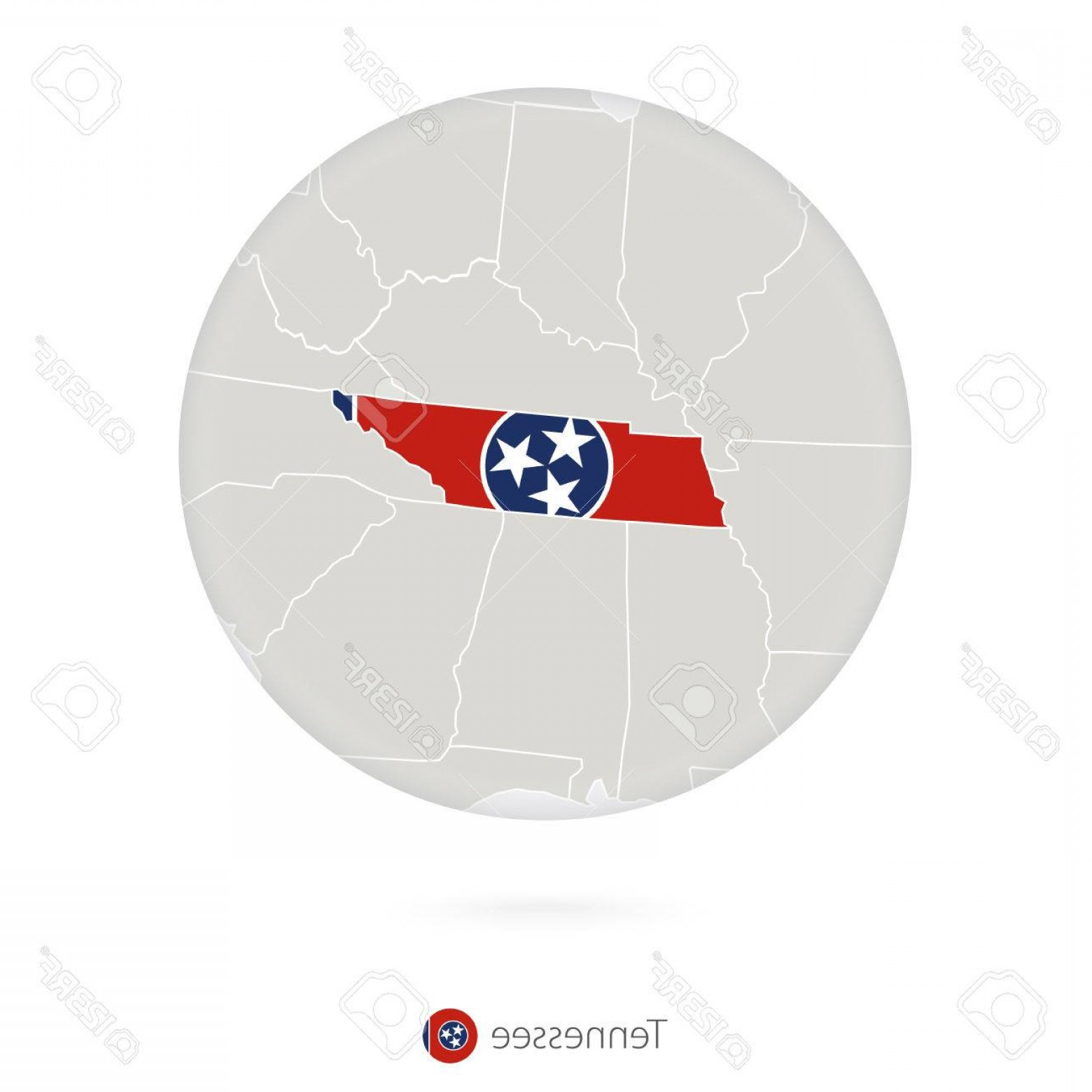 Tennessee Flag Vector: Photostock Vector Map Of Tennessee State And Flag In A Circle Tennessee Us State Map Contour With Flag Vector Illustra