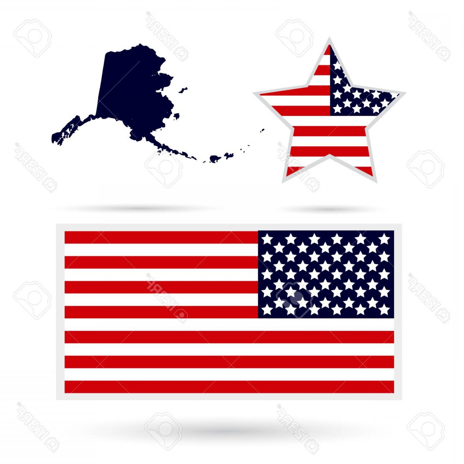 Alaska State White Background Vectors: Photostock Vector Map Of The U S State Of Alaska On A White Background American Flag