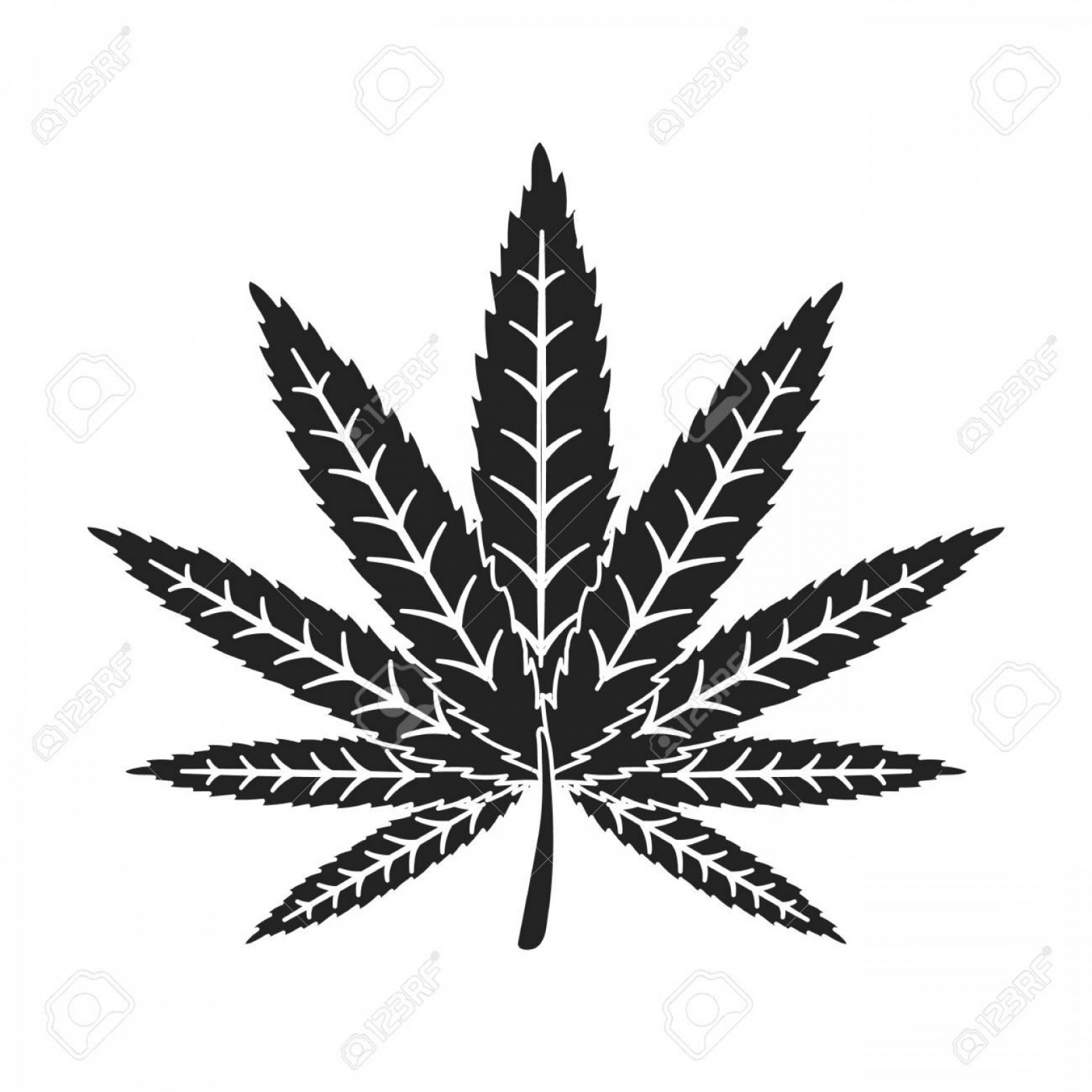 Black And White Vector Image Of Weed Plants: Photostock Vector Marijuana Leaf Icon In Black Style Isolated On White Background Drugs Symbol Vector Illustration